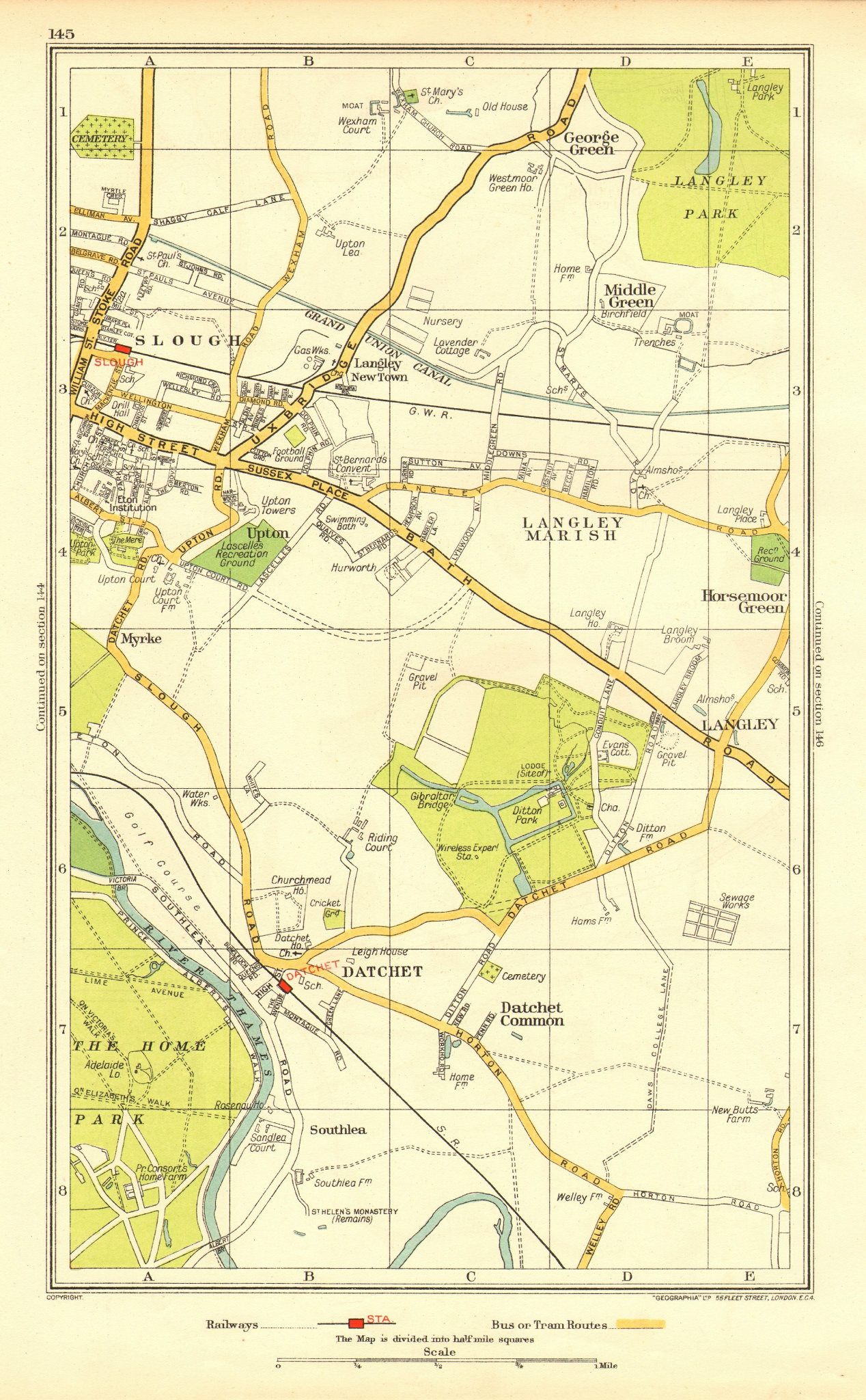 Associate Product SLOUGH. Windsor Datchet Datchet Common Langley George Green 1937 old map