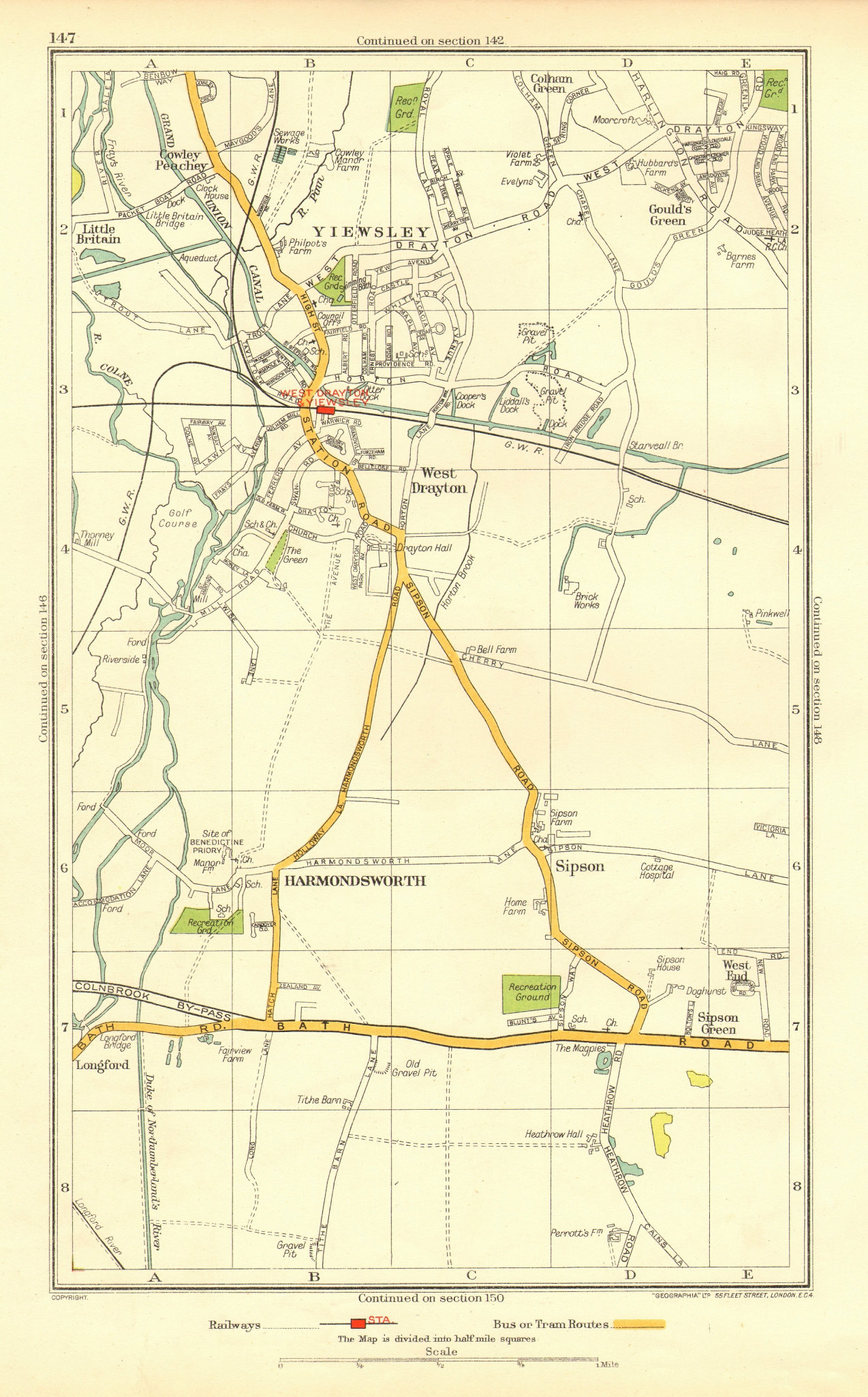 Associate Product YIEWSLEY WEST DRAYTON. Hayes Heathrow Harmondsworth Sipson Cowley 1937 old map