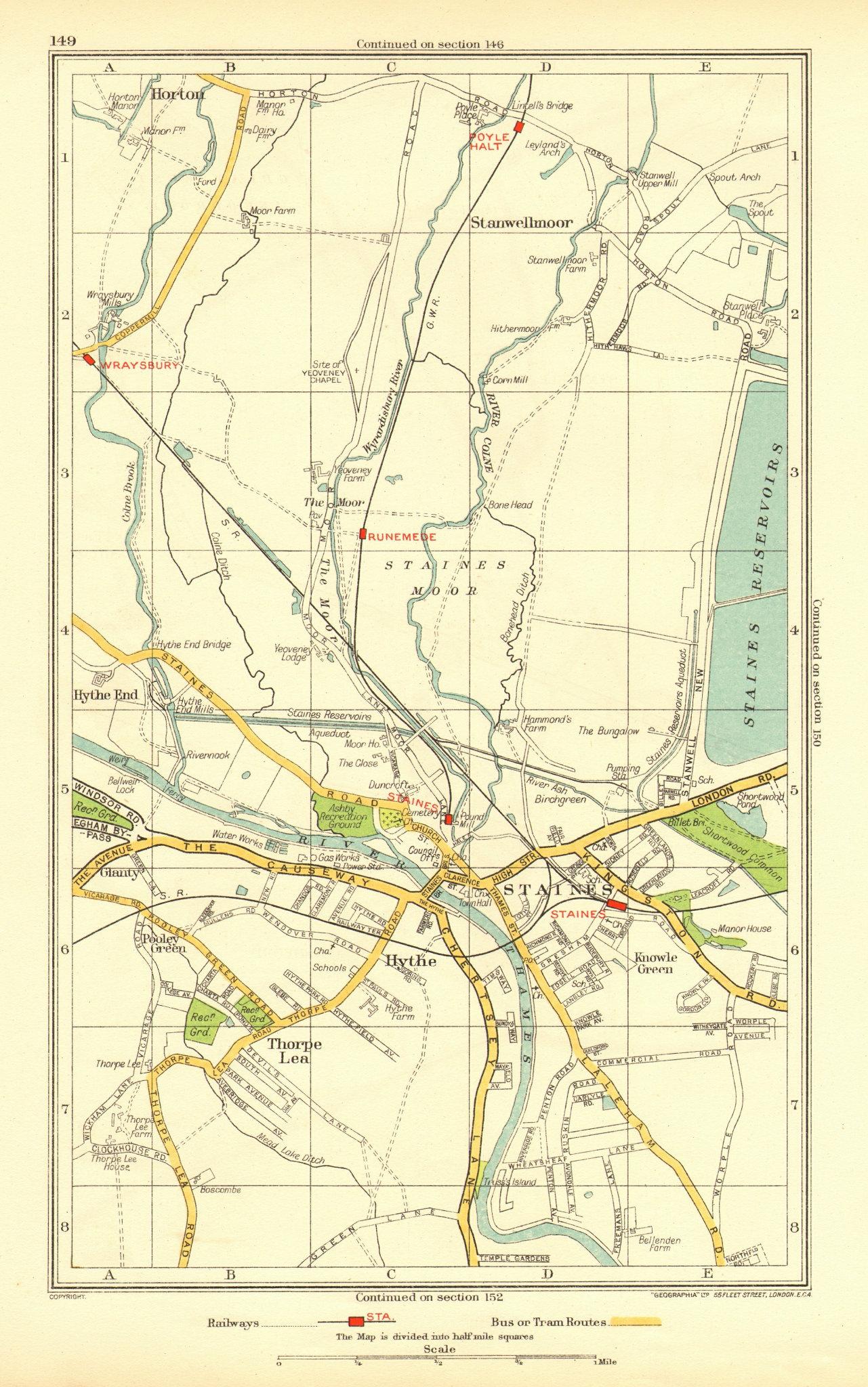 Associate Product STAINES. Egham Hythe Stanwell Moor Thorpe Hythe End Horton Wraysbury 1937 map
