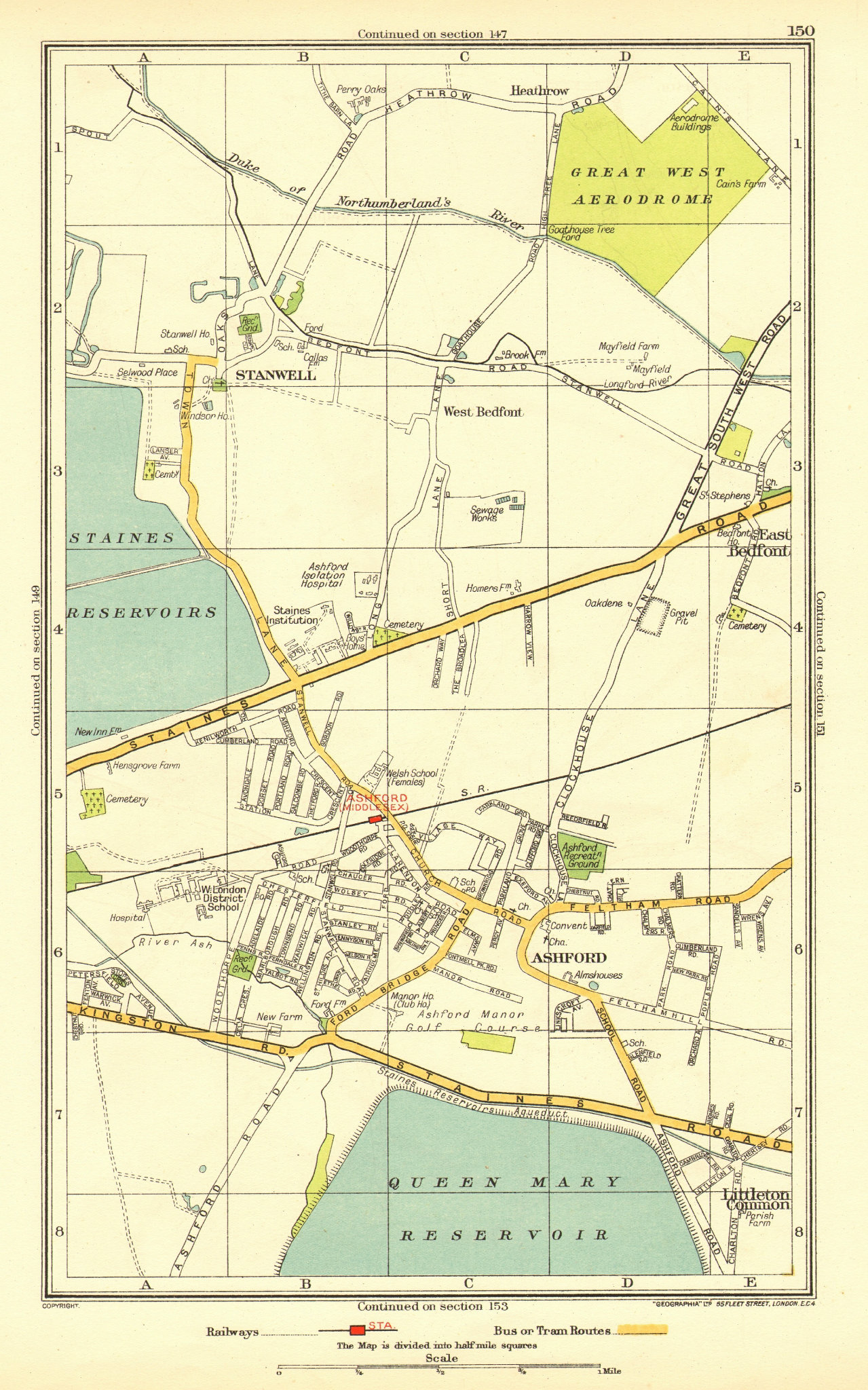 Associate Product ASHFORD STAINES-UPON-THAMES. Stanwell Feltham Heathrow Bedfont 1937 old map