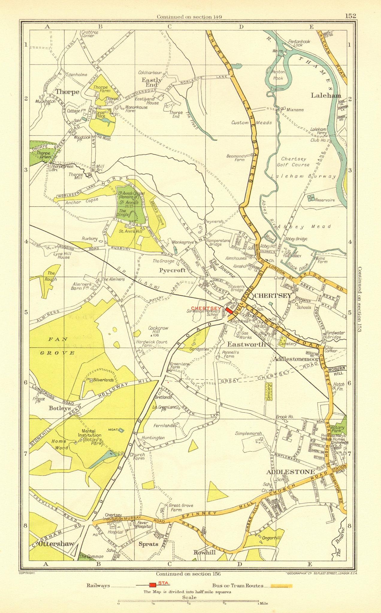 Associate Product CHERTSEY. Addlestone Chertsey Ottershaw Thorpe Rowhill Laleham(Surrey) 1937 map
