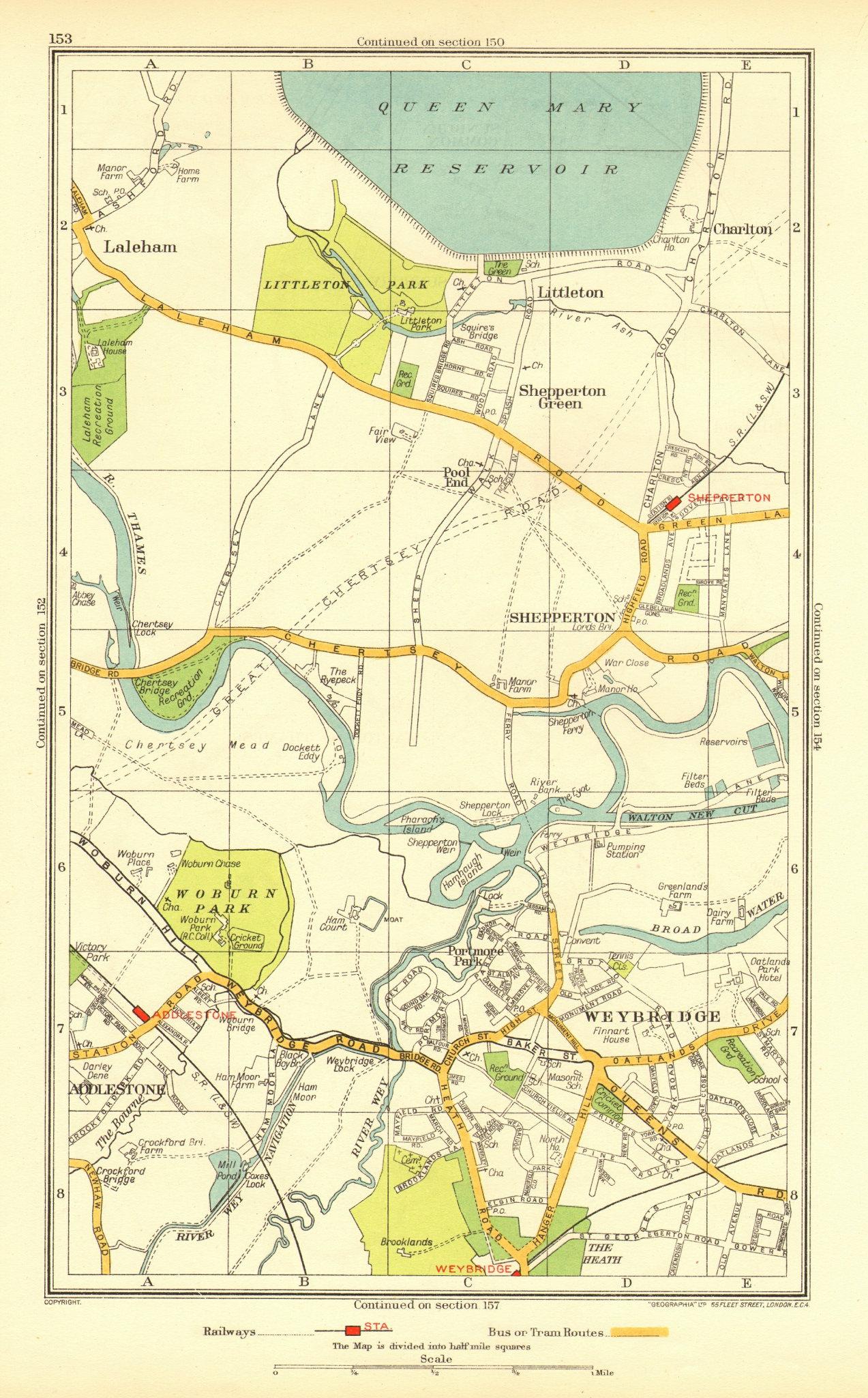 Associate Product WEYBRIDGE. Halliford Shepperton Littleton Addleston Laleham Charlton 1937 map