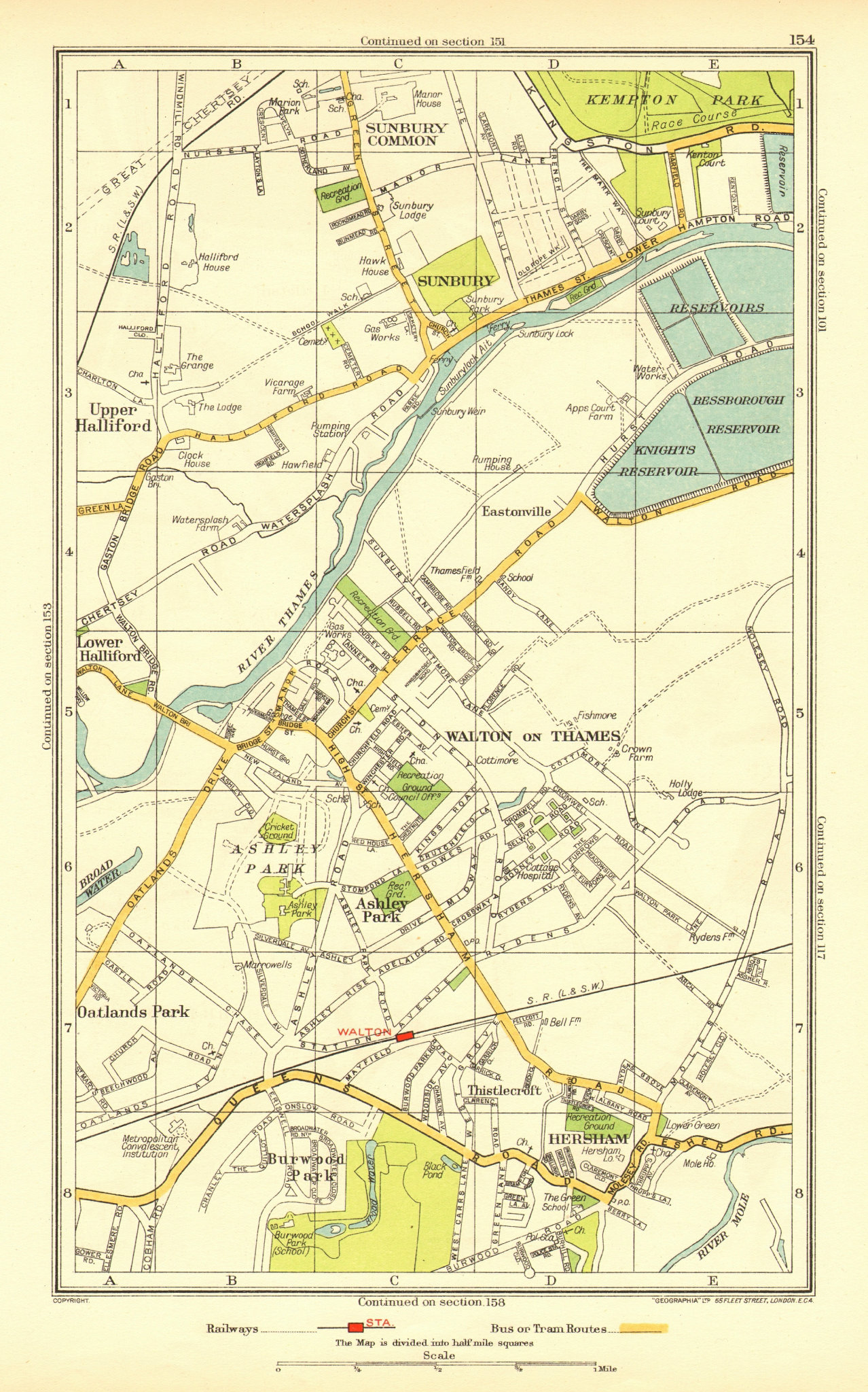 Associate Product WALTON ON THAMES. Sunbury Hersham Upper Halliford Burwood Park 1937 old map