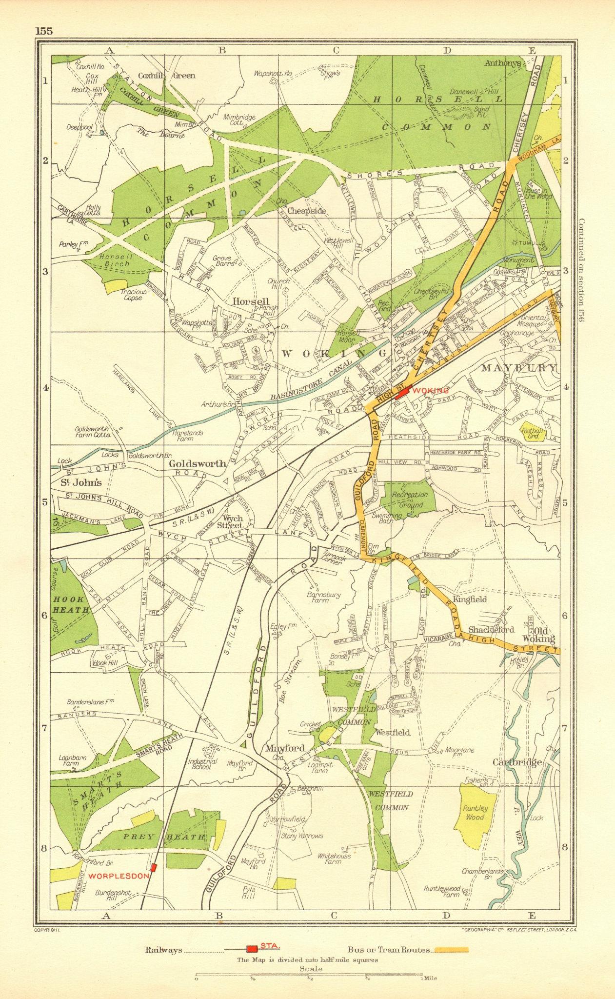Associate Product WOKING. Horsell Maybury Mayford Worplesdon Cartbridge (Surrey) 1937 old map