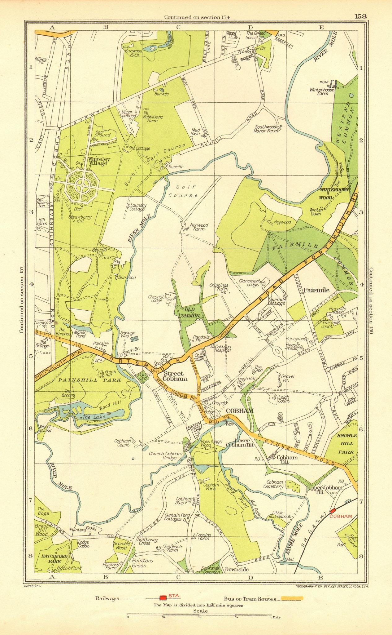 Associate Product COBHAM. Stoke d'Abernon Whiteley Village Fairmile Burwood Park(Surrey) 1937 map