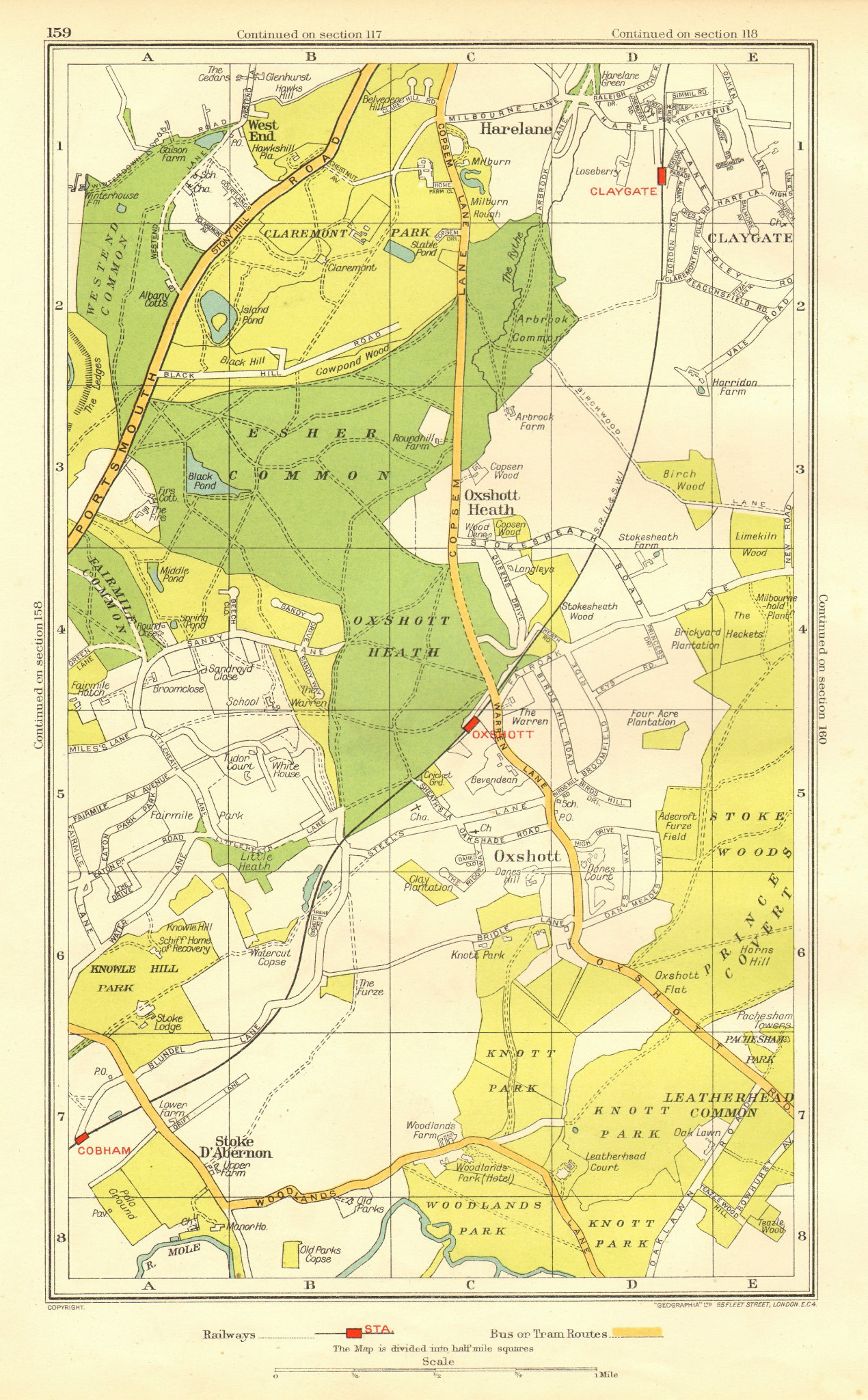 Associate Product OXSHOTT ESHER. Stoke D'Abernon Cobham Fairmile Claygate (Surrey) 1937 old map