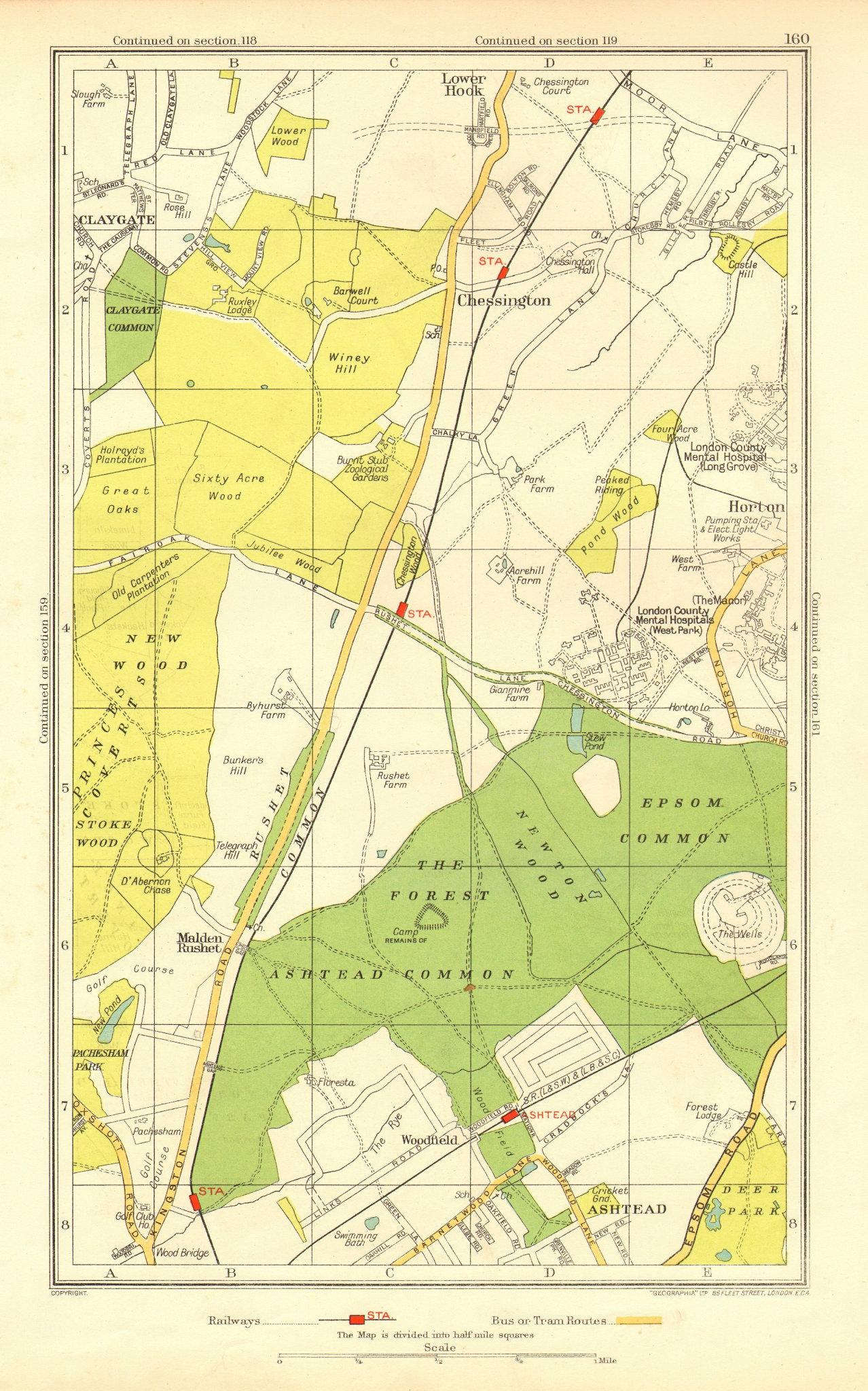 Associate Product ASHTEAD. Ewell Chessington Claygate Horton Epsom Common Hook 1937 old map