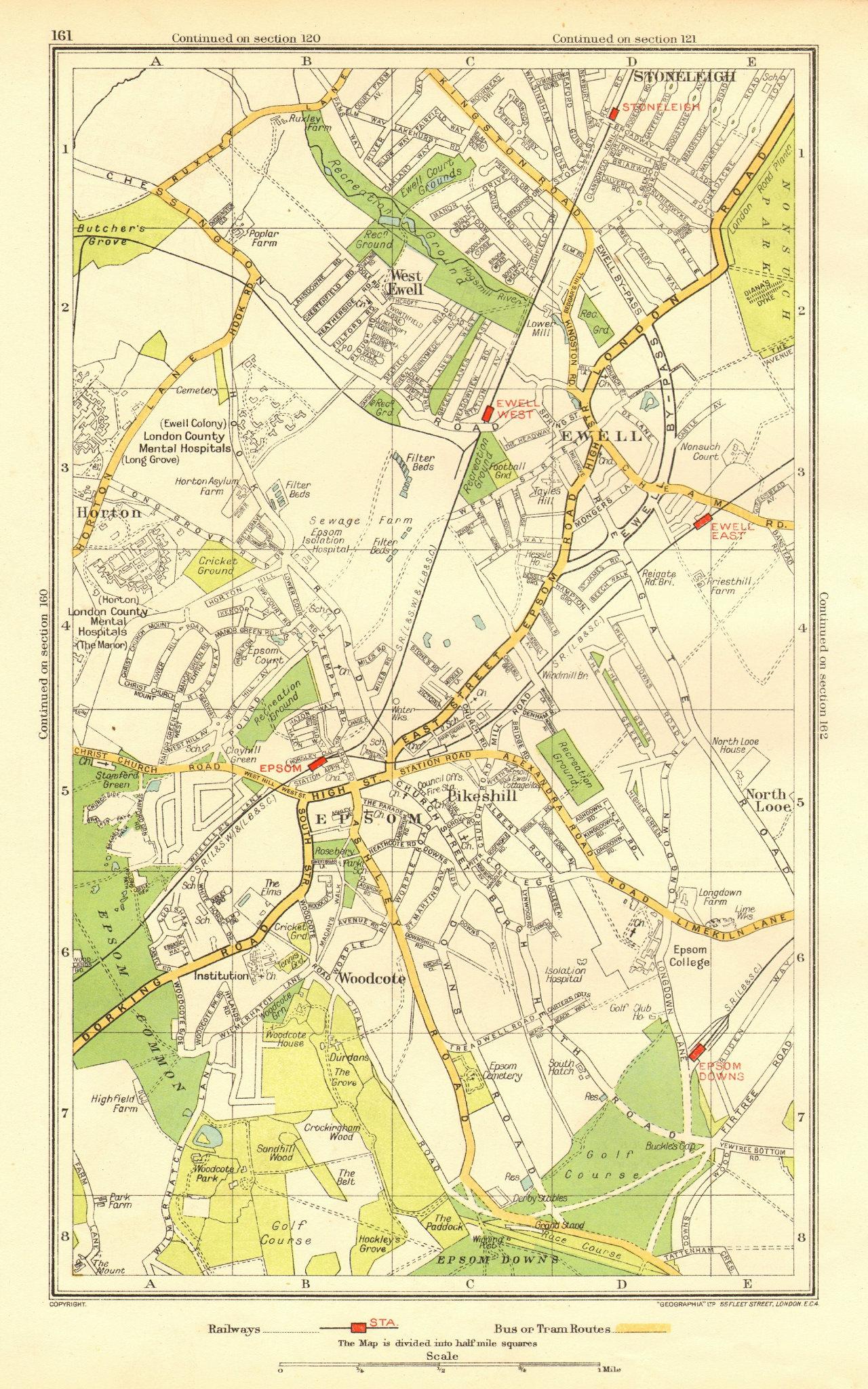 EPSOM EWELL. Stoneleigh North Looe Horton Pikeshill Woodcote (Surrey) 1937 map