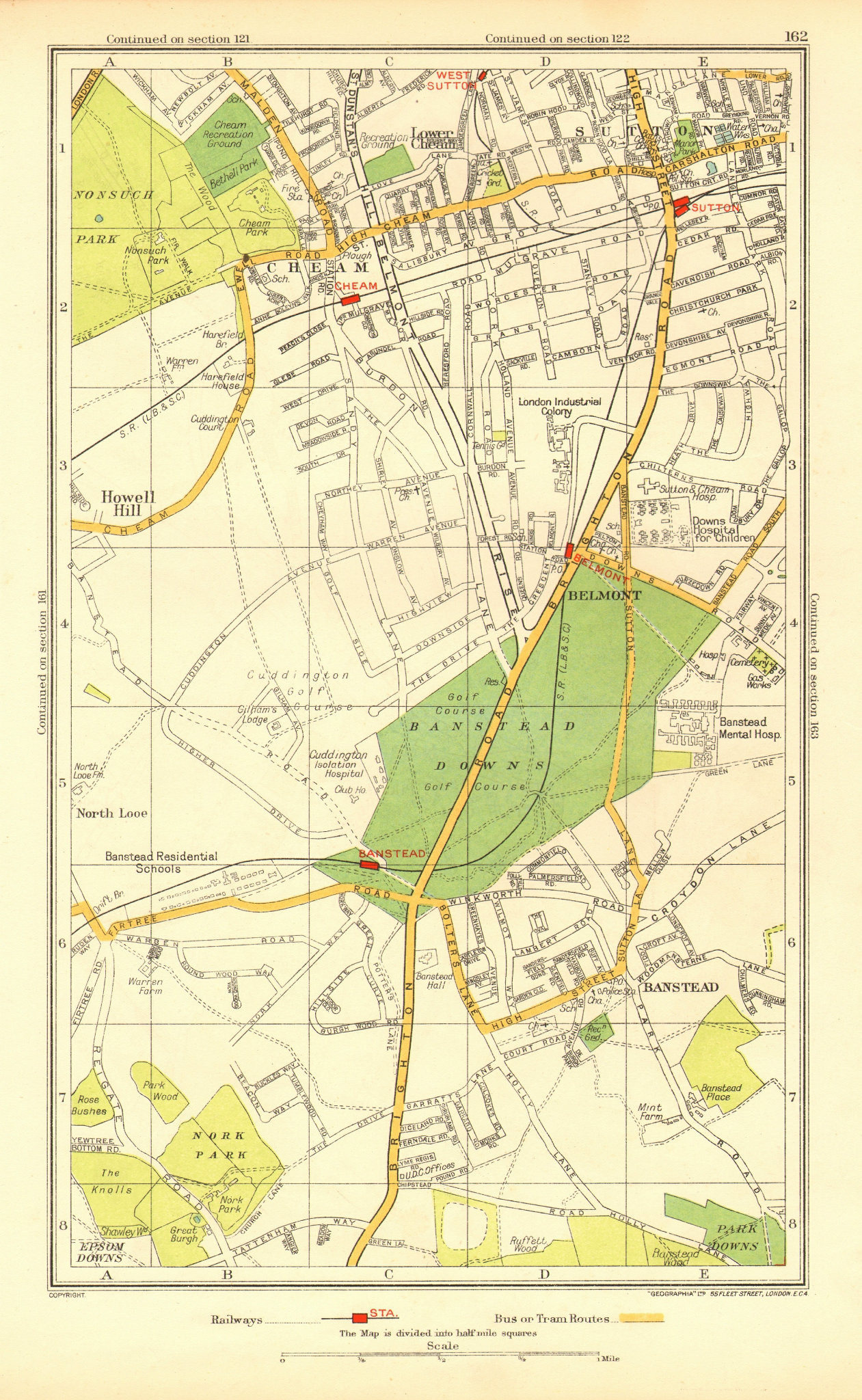 Associate Product SUTTON CHEAM BANSTEAD. Belmont Nork East Ewell Carshalton Beeches 1937 old map