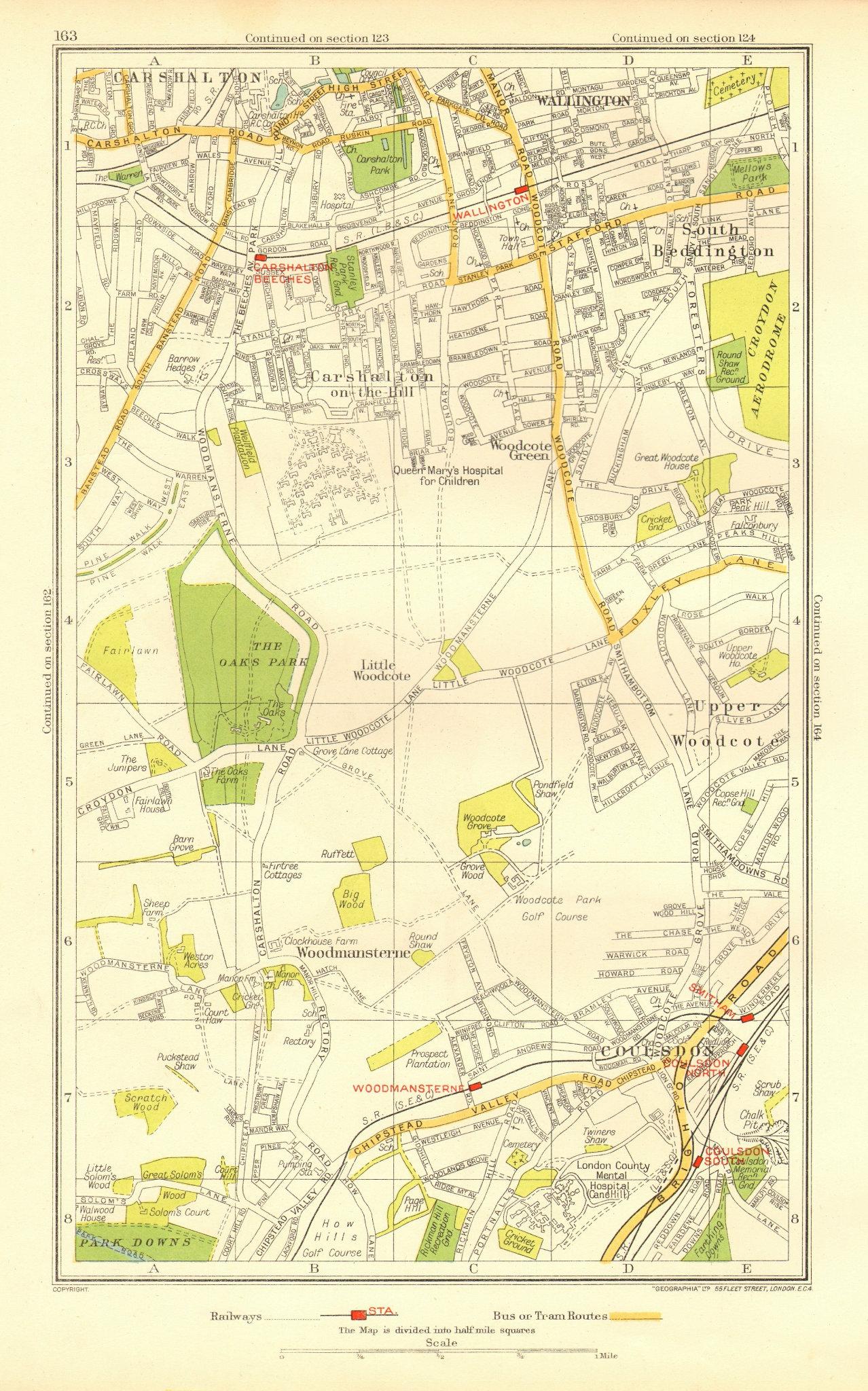 Associate Product COULSDON WALLINGTON. Carshalton Woodmansterne Woodcote S. Beddington 1937 map