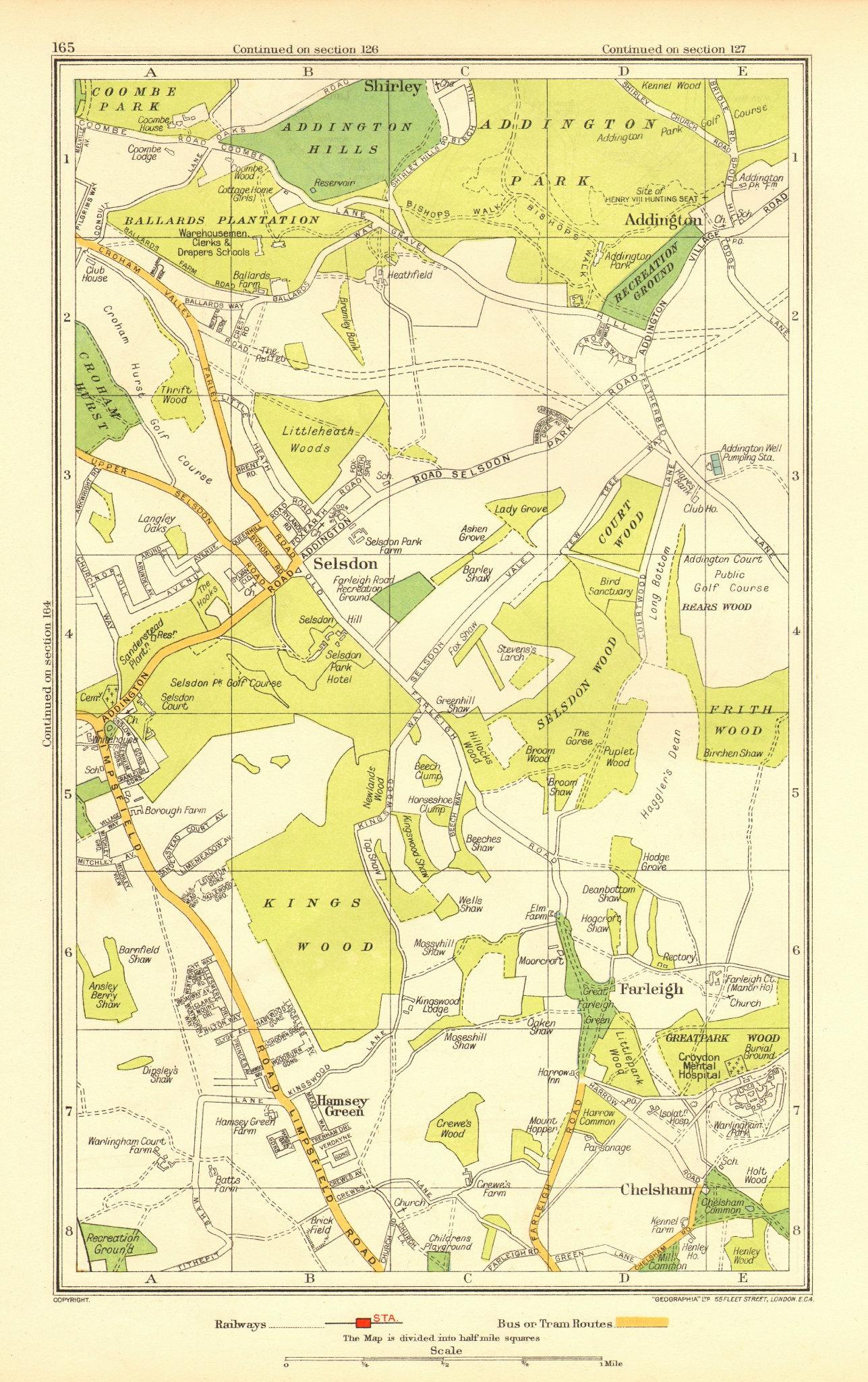 Associate Product SELSDON. Addington Chelsham Farleigh Hamsey Green Forestdale Shirley 1937 map