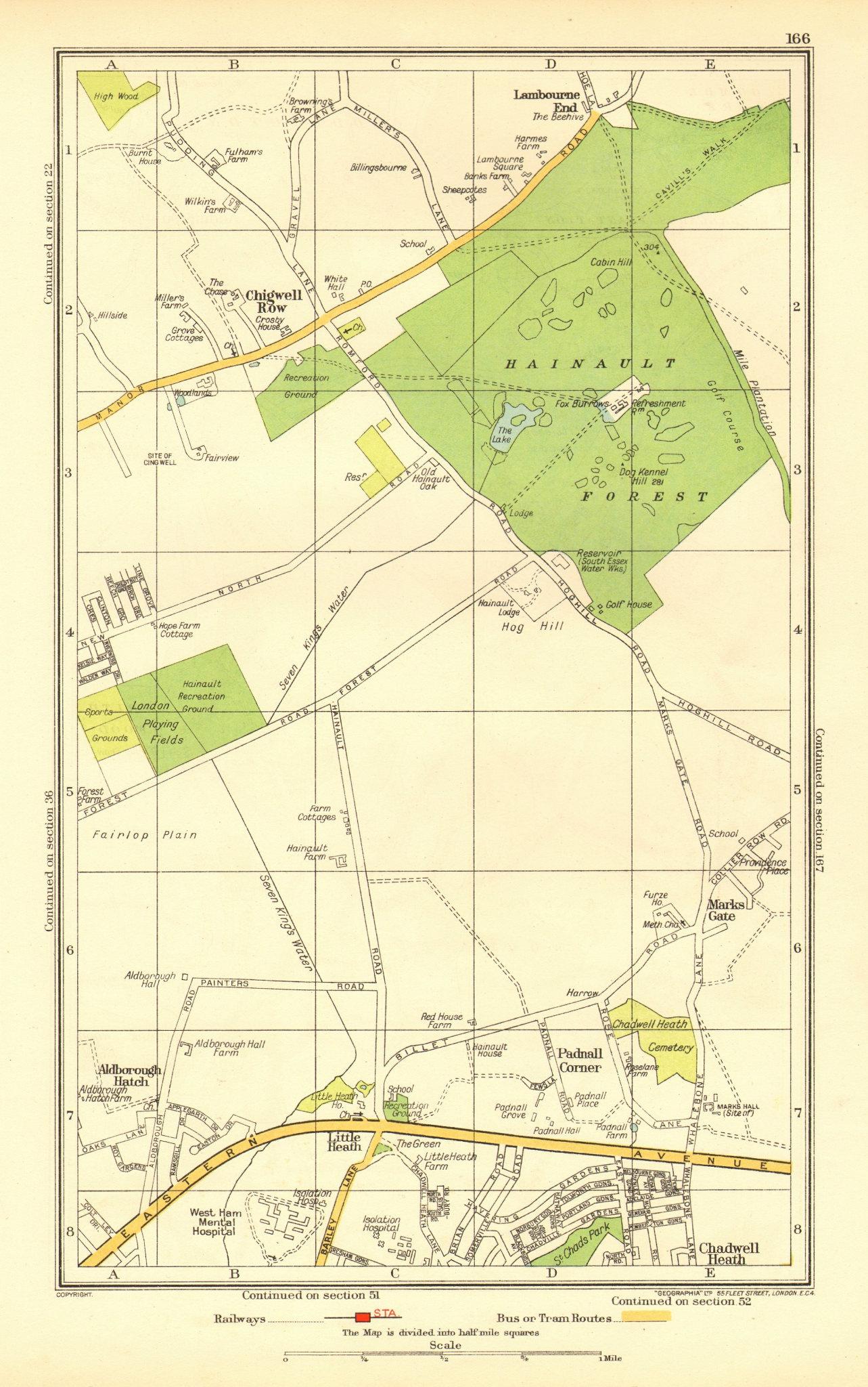 Associate Product ILFORD. Hainault Aldborough Hatch Chigwell Row Little Heath (Essex) 1937 map