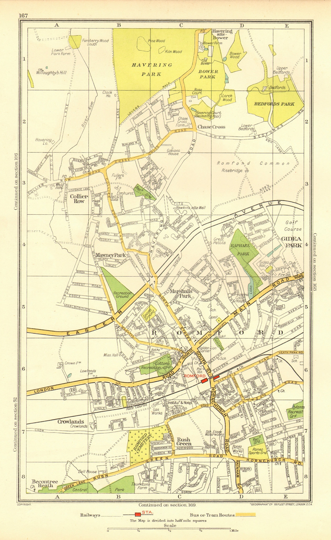 Associate Product ROMFORD. Collier Row Rush Green Havering-atte-Bower Rise/Gidea Park 1937 map