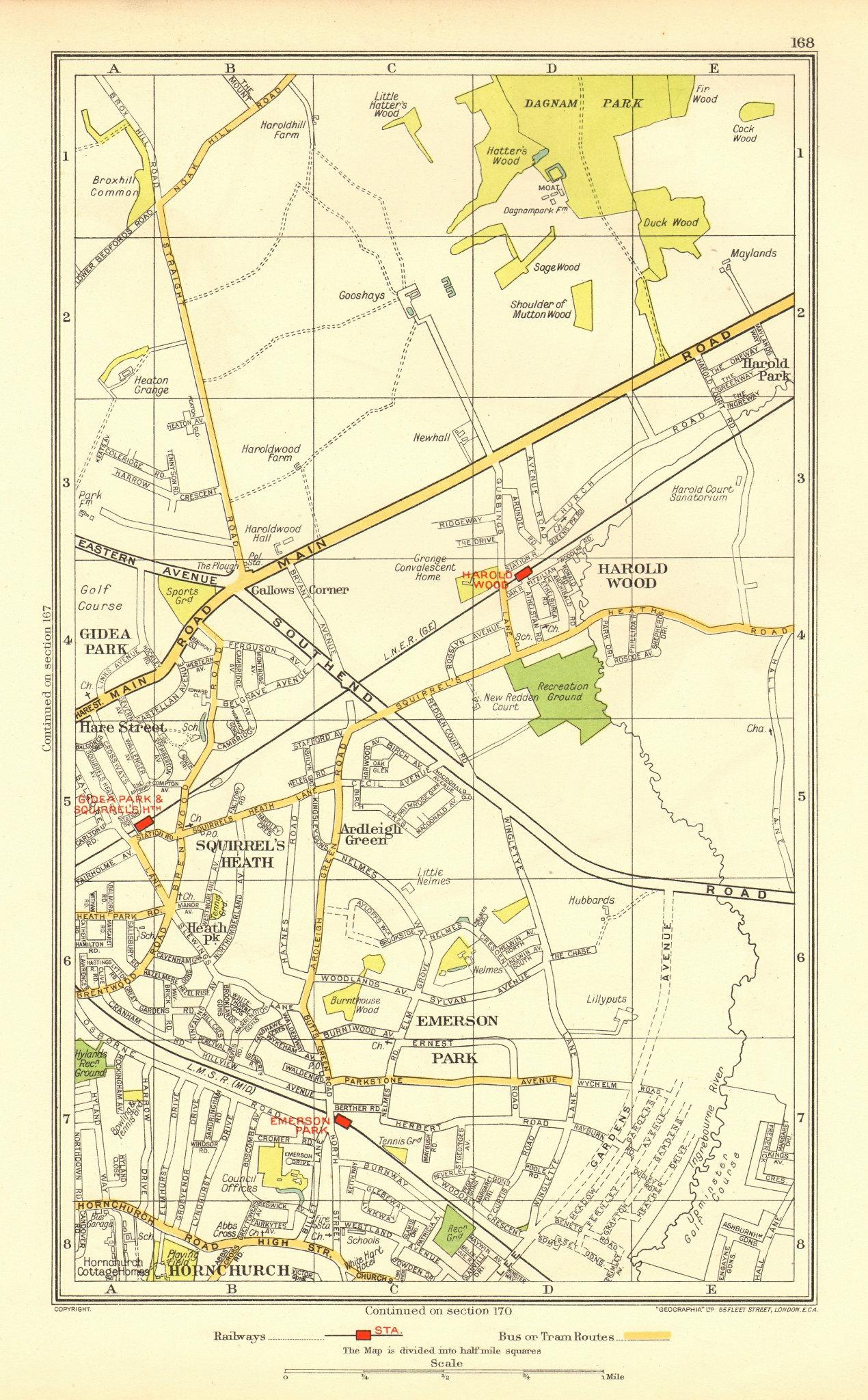 Associate Product ROMFORD. Hornchurch Harold Wood Emerson Park Harold Hill Upminster 1937 map