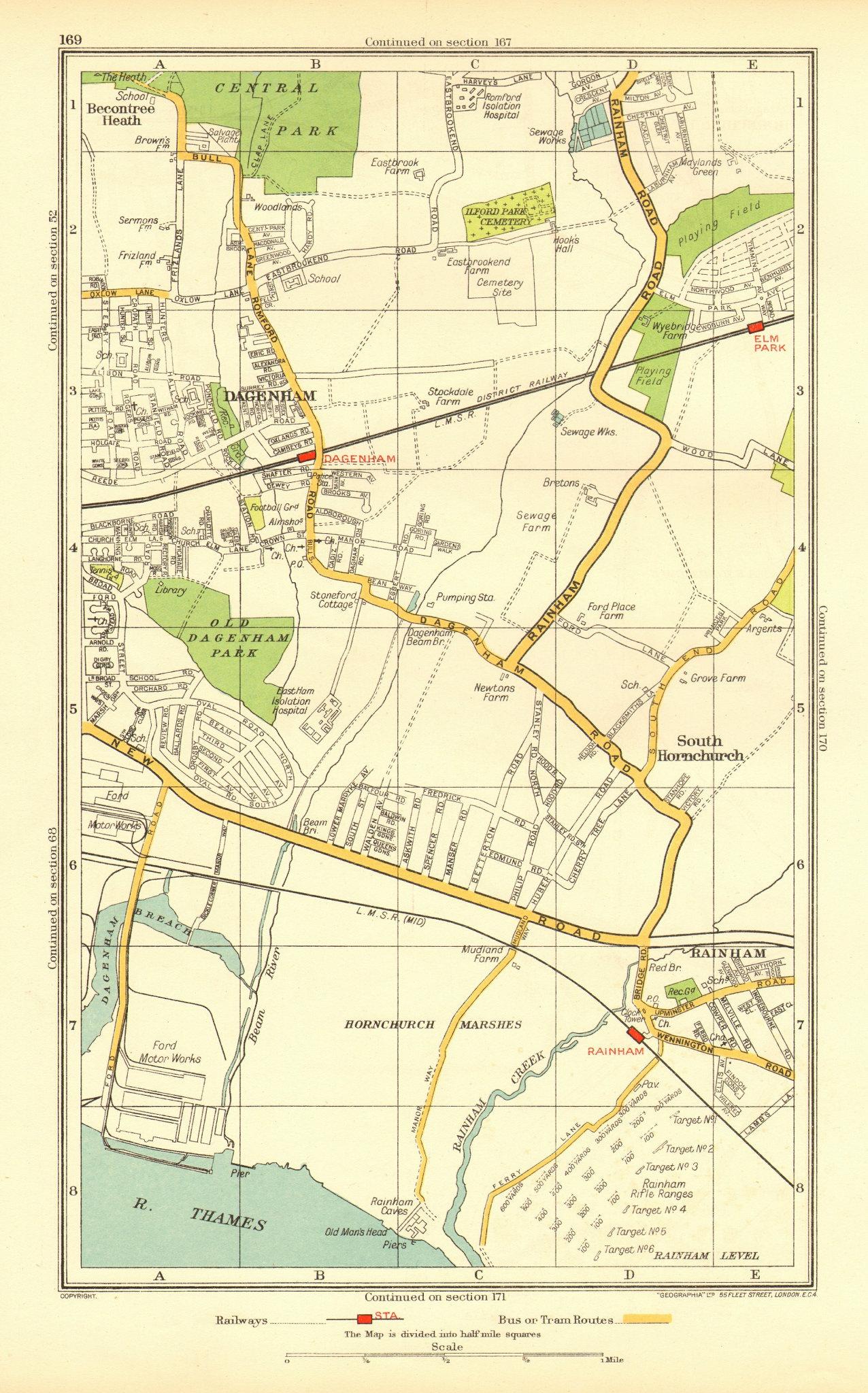 Associate Product DAGENHAM. Rainham South Hornchurch Elm Park Motor Works (Essex) 1937 old map