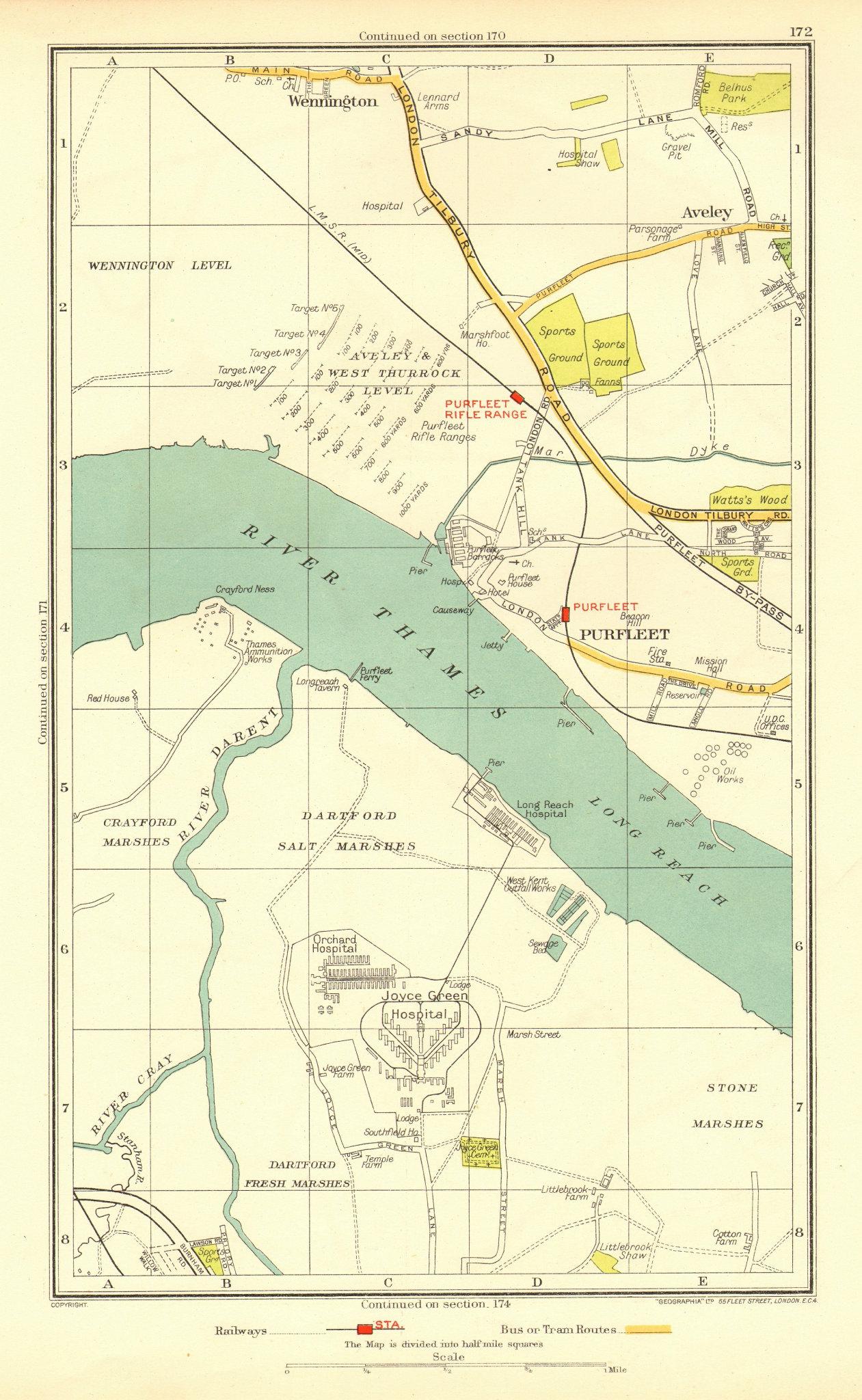 DARTFORD PURFLEET. Aveley Wennington Rainham Temple Hill (Essex/Kent) 1937 map