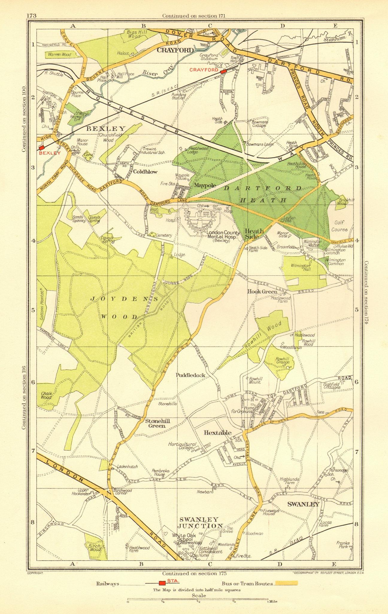 Associate Product DARTFORD. Crayford Hextable Old Bexley Swanley Hook Green White Oak 1937 map