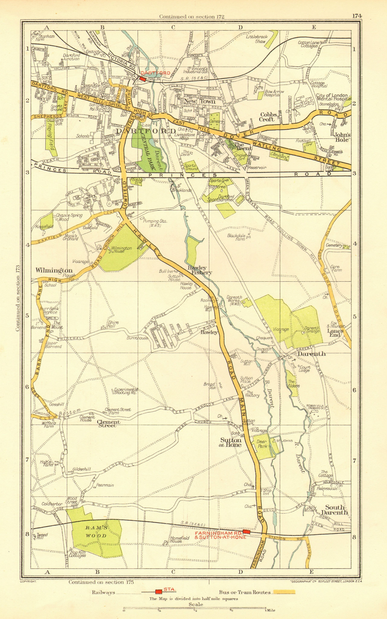 Associate Product DARTFORD. South Darenth Sutton at Hone Hawley Wilmington (Kent) 1937 old map