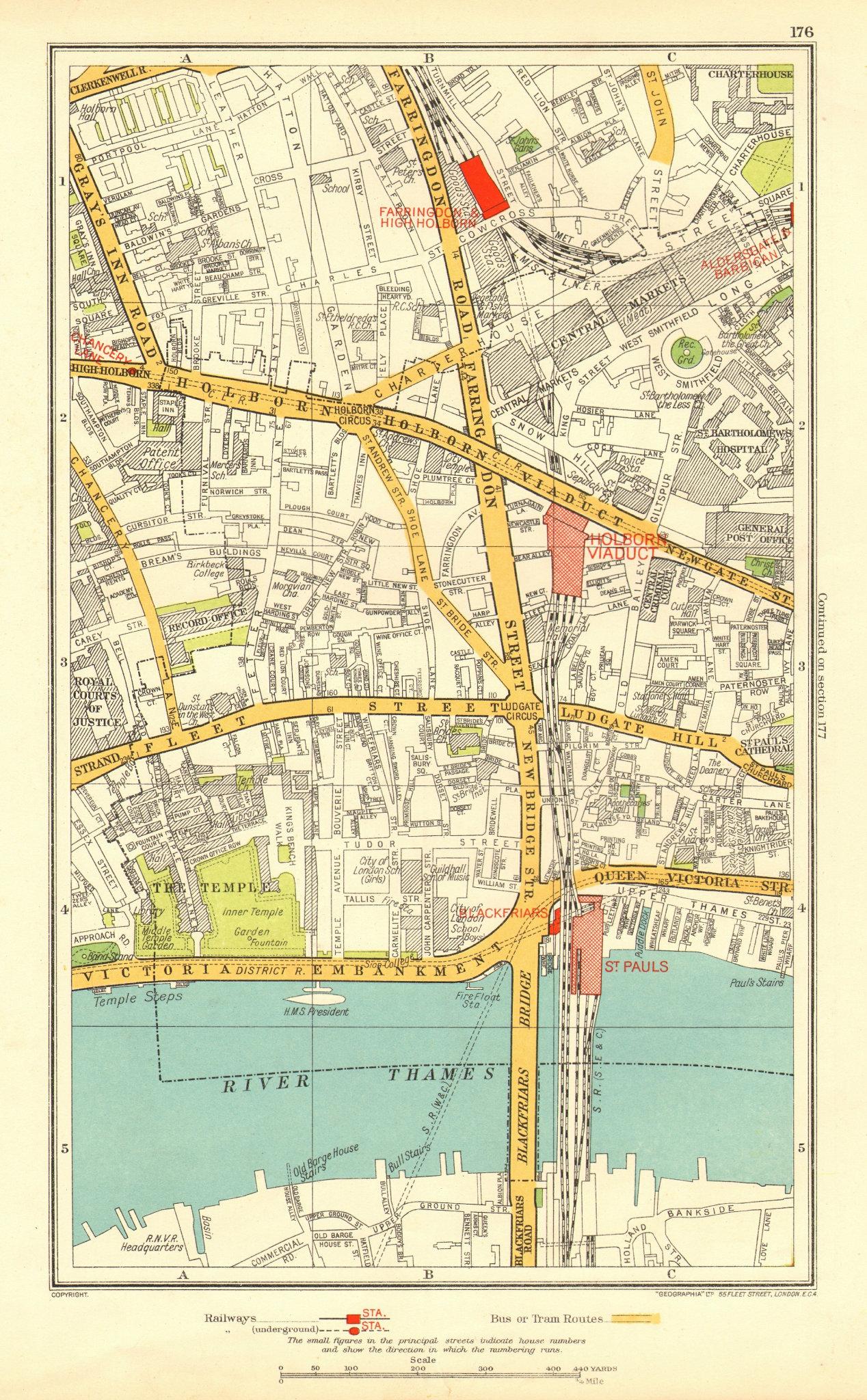 Associate Product LONDON. Holborn Farringdon Fleet St Chancery Lane 1937 old vintage map chart