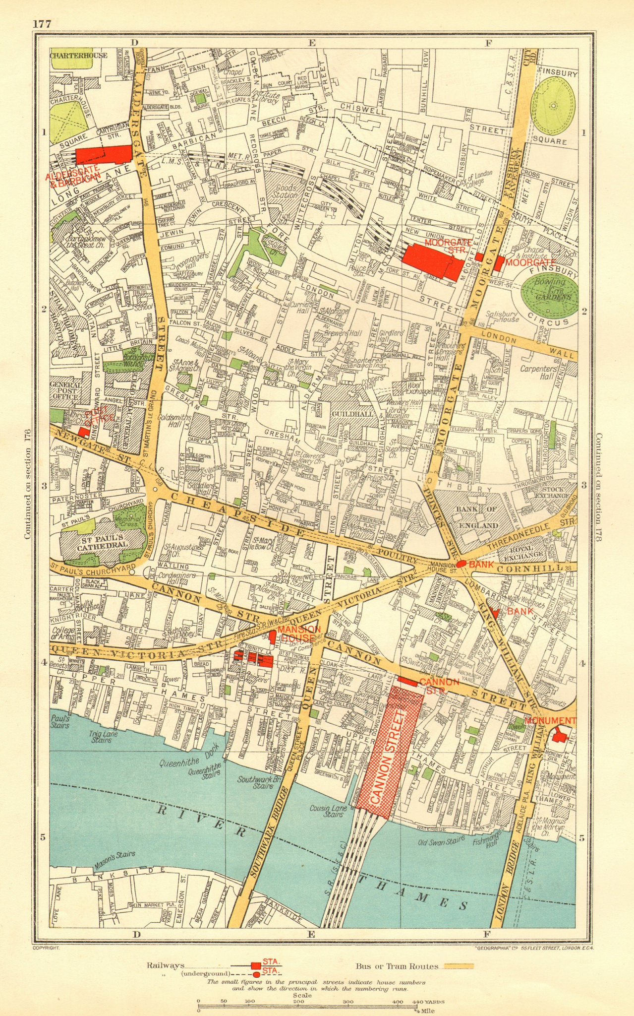 Associate Product LONDON. City. Barbican Moorgate Bank Cannon Street 1937 old vintage map chart