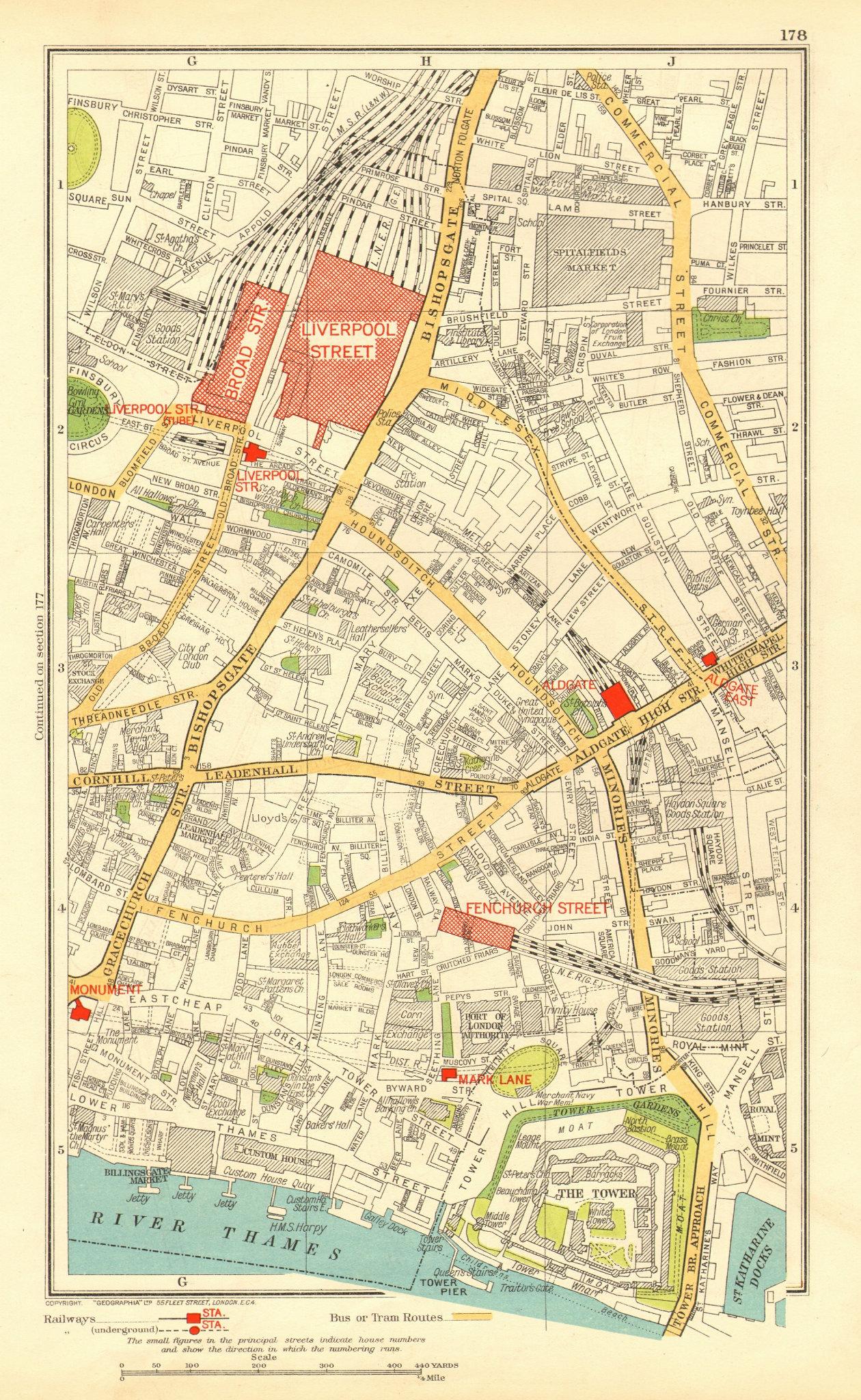 Associate Product LONDON. City. Tower Liverpool Street Bishopsgate 1937 old vintage map chart