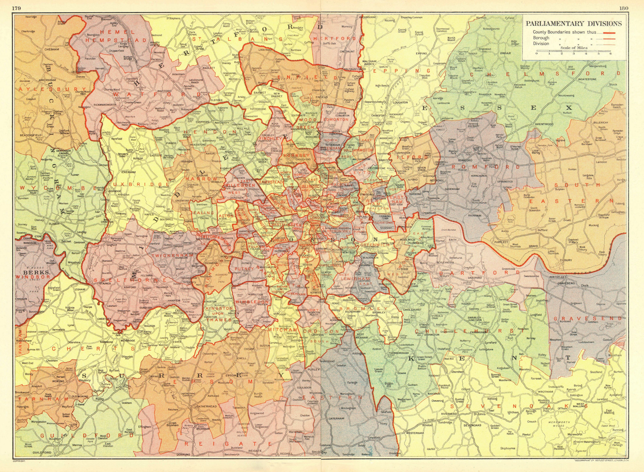 Associate Product LONDON. Parliamentary Divisions Constituencies Seats Boroughs 1937 old map