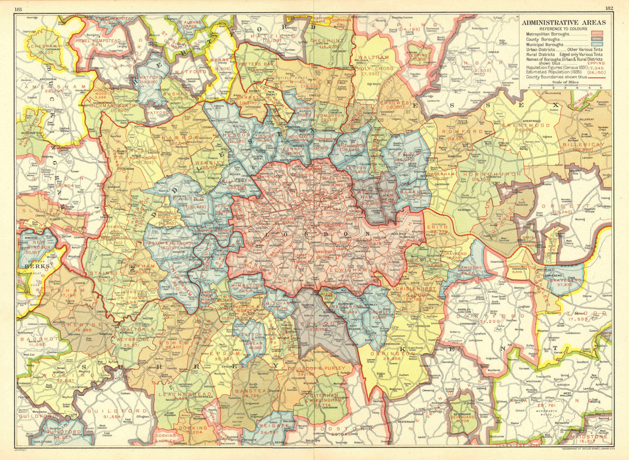 Associate Product LONDON. Administrative Areas. Municipal Boroughs Local Authorities 1937 map