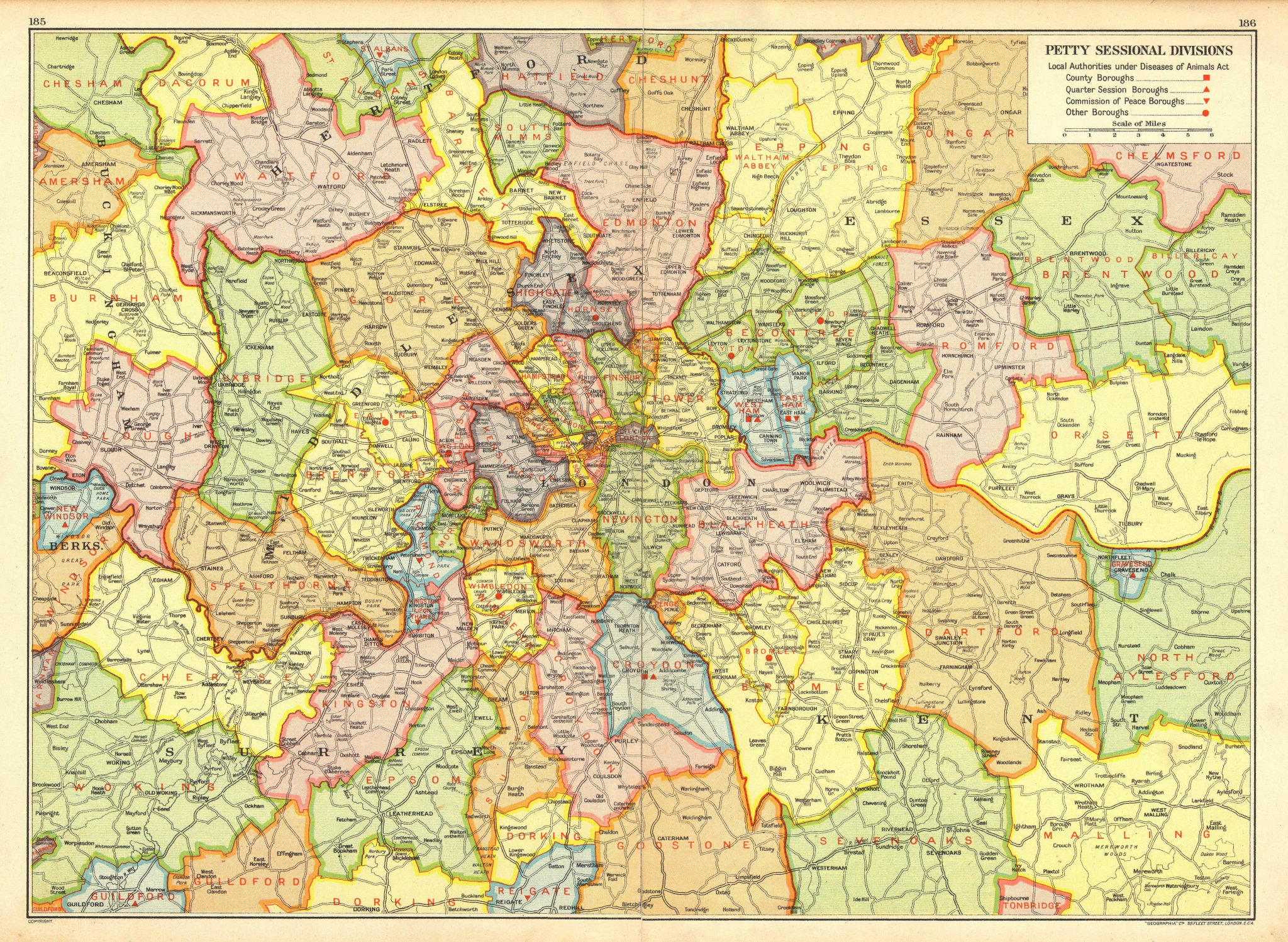 Associate Product LONDON. Petty Sessional Divisions. Quarter Session boroughs 1937 old map