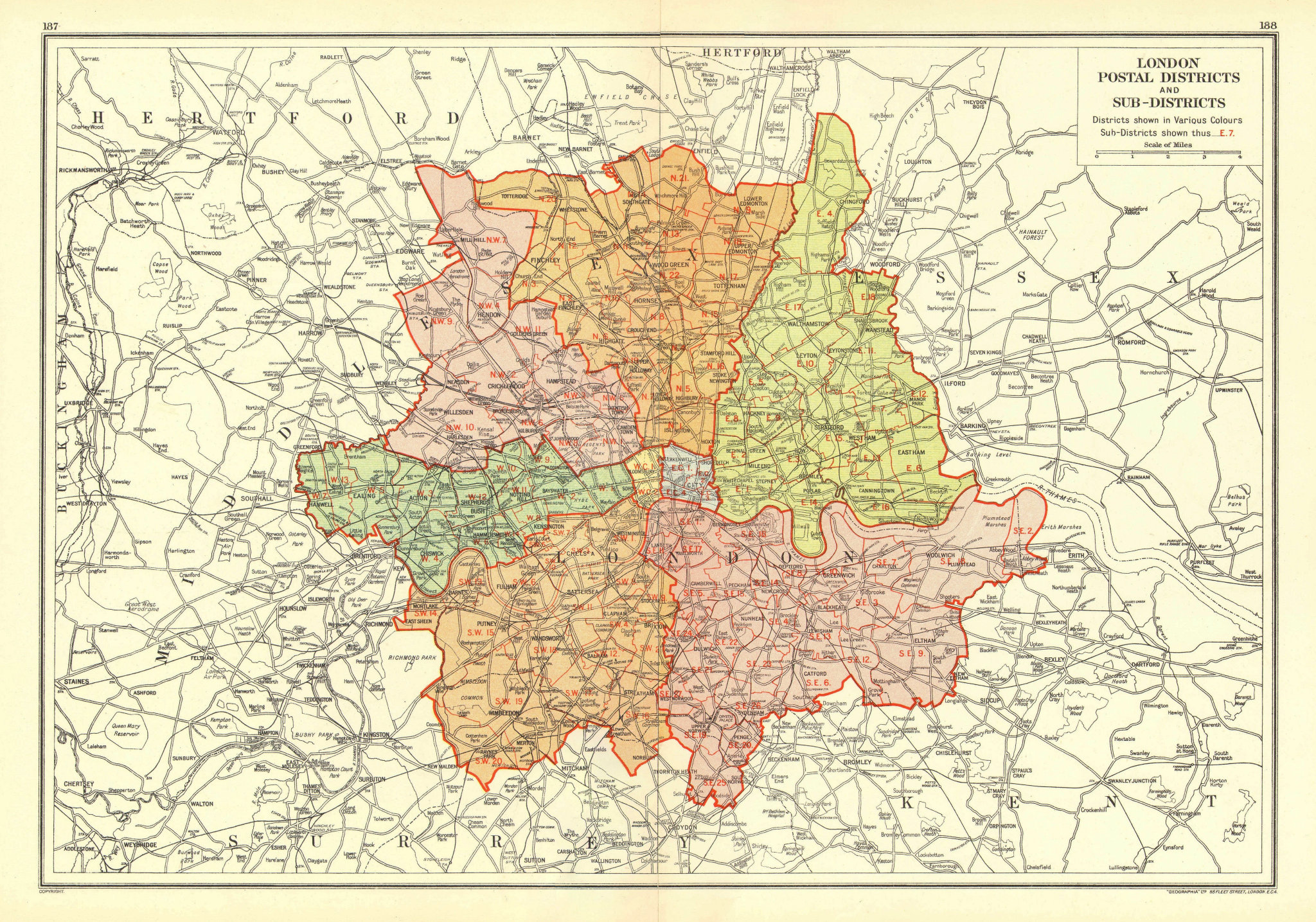 Associate Product LONDON. Postal Districts and Sub-Districts. Postcodes 1937 old vintage map