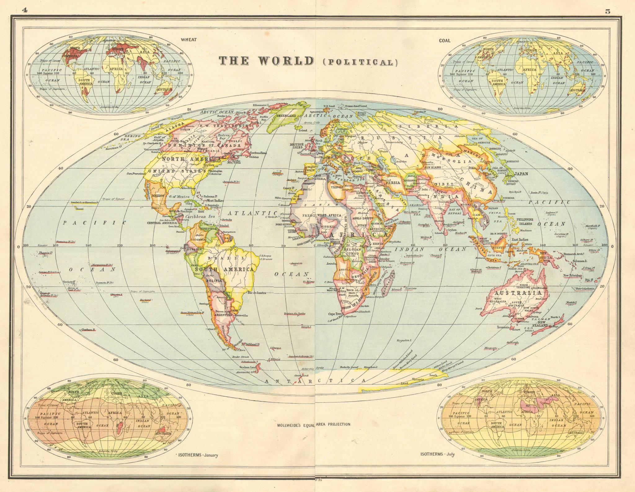 Associate Product WORLD POLITICAL. Hejas Asir British Empire Chosen Rio de Oro Siam 1920 old map