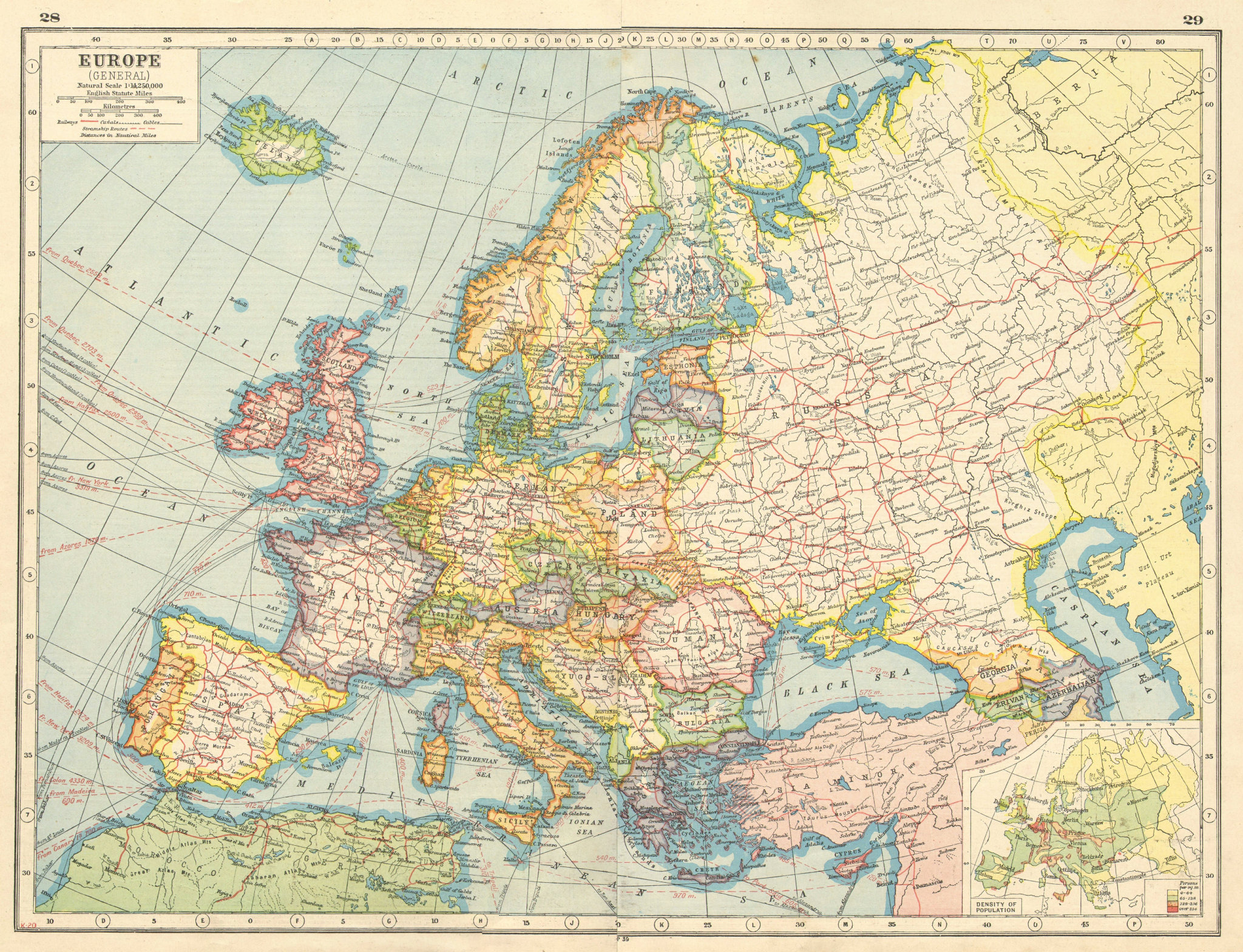 Associate Product EUROPE. Showing railways telegraph cables steamship routes canals 1920 old map