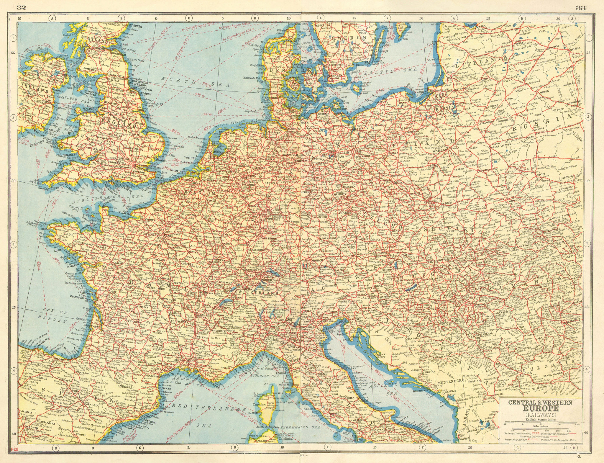 Associate Product EUROPE RAILWAYS. double & single track. Narrow gauge. Steamship routes 1920 map