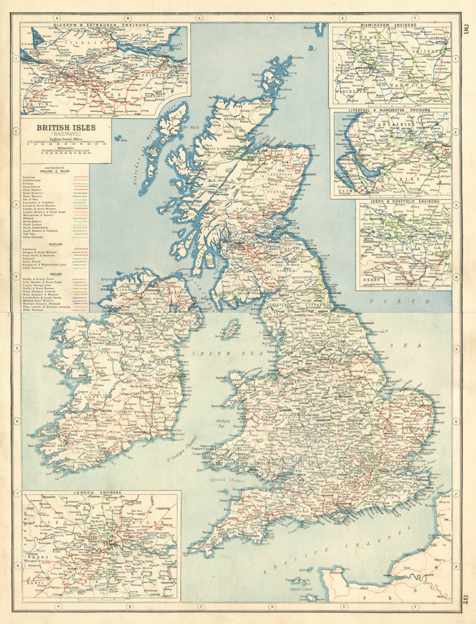 Associate Product BRITISH ISLES RAILWAYS. Showing each company's lines. HARMSWORTH 1920 old map