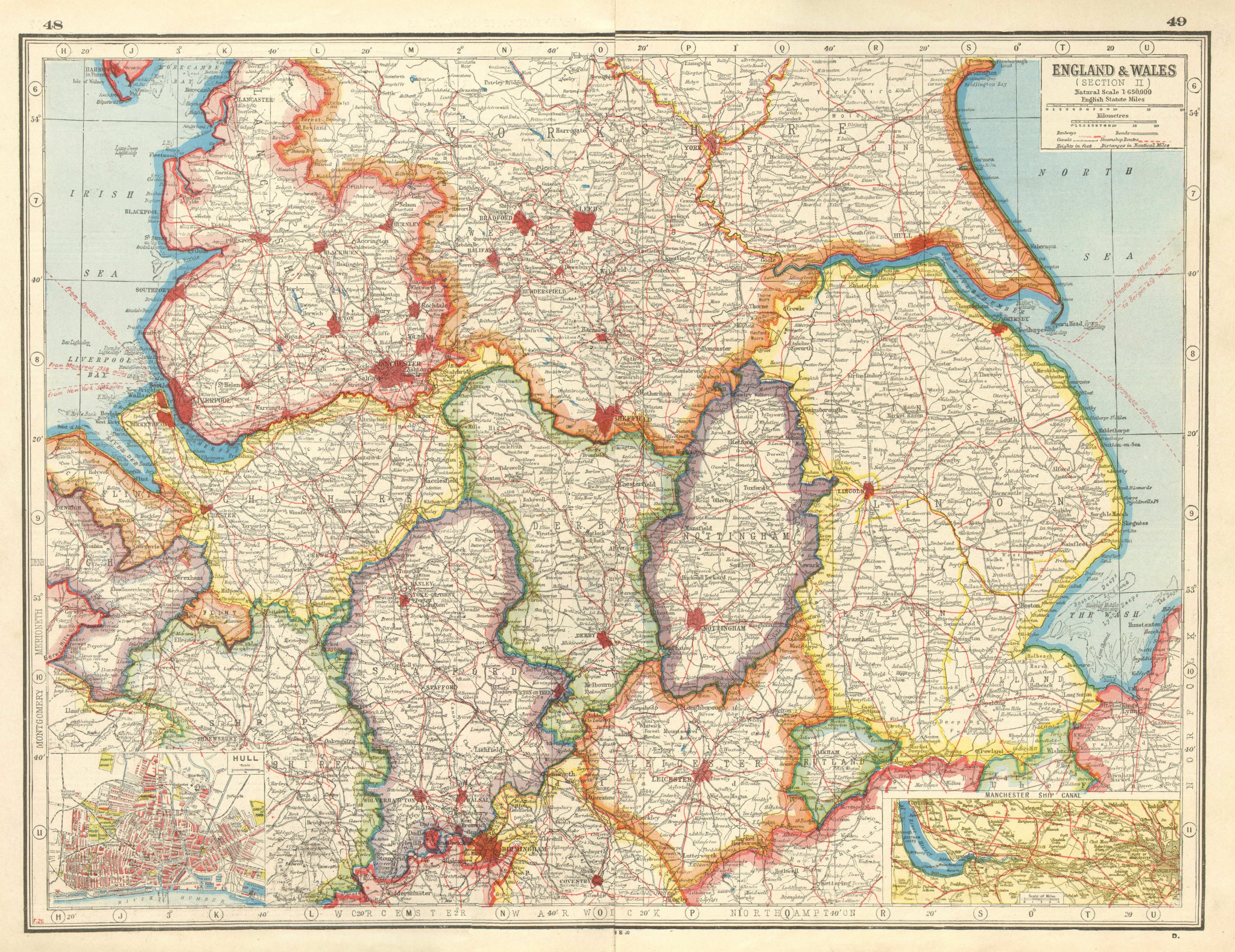Associate Product ENGLAND NORTH & MIDLANDS. Inset Hull; Manchester Ship Canal.HARMSWORTH 1920 map
