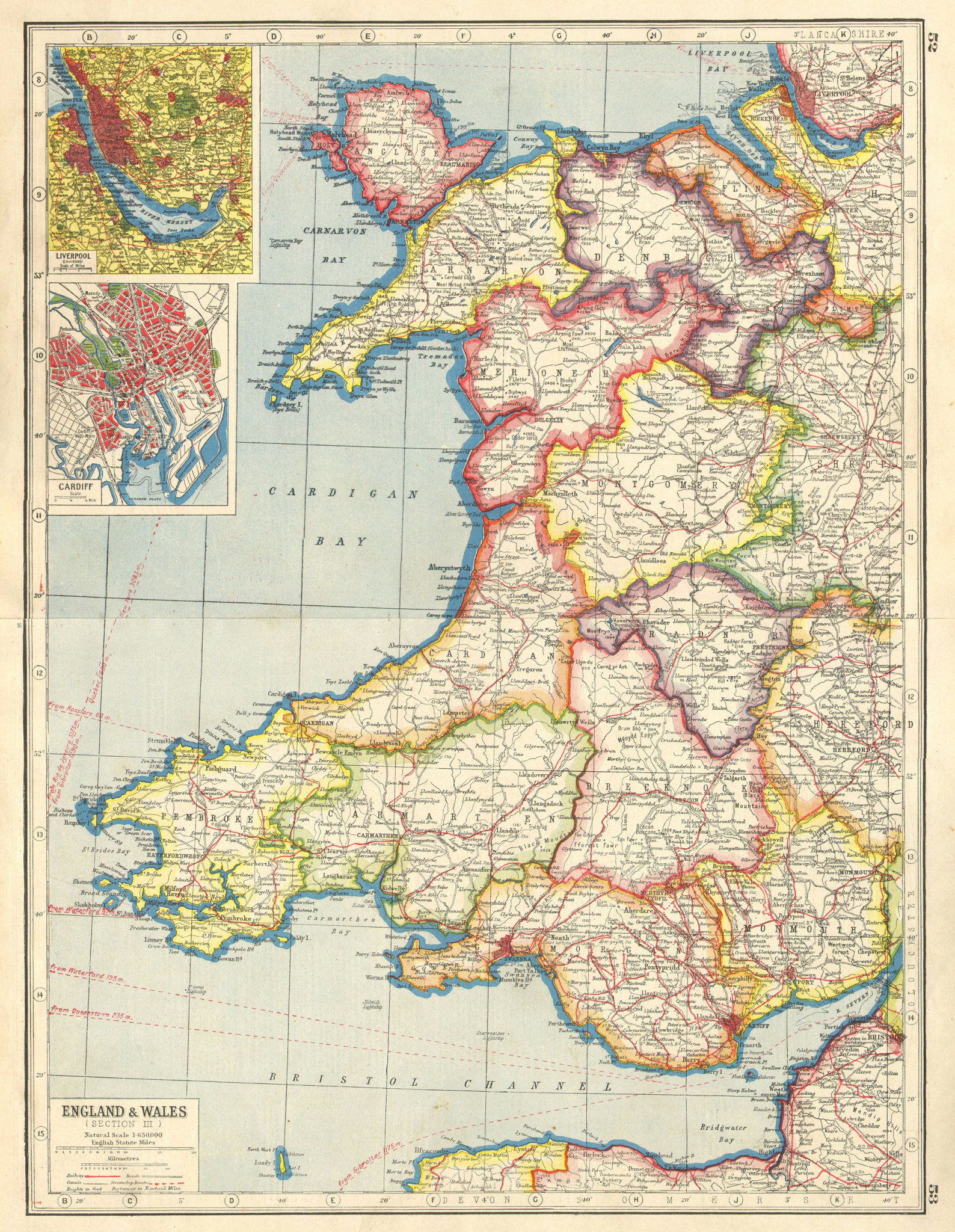 Associate Product WALES. Inset Merseyside & Cardiff plans. HARMSWORTH 1920 old antique map chart