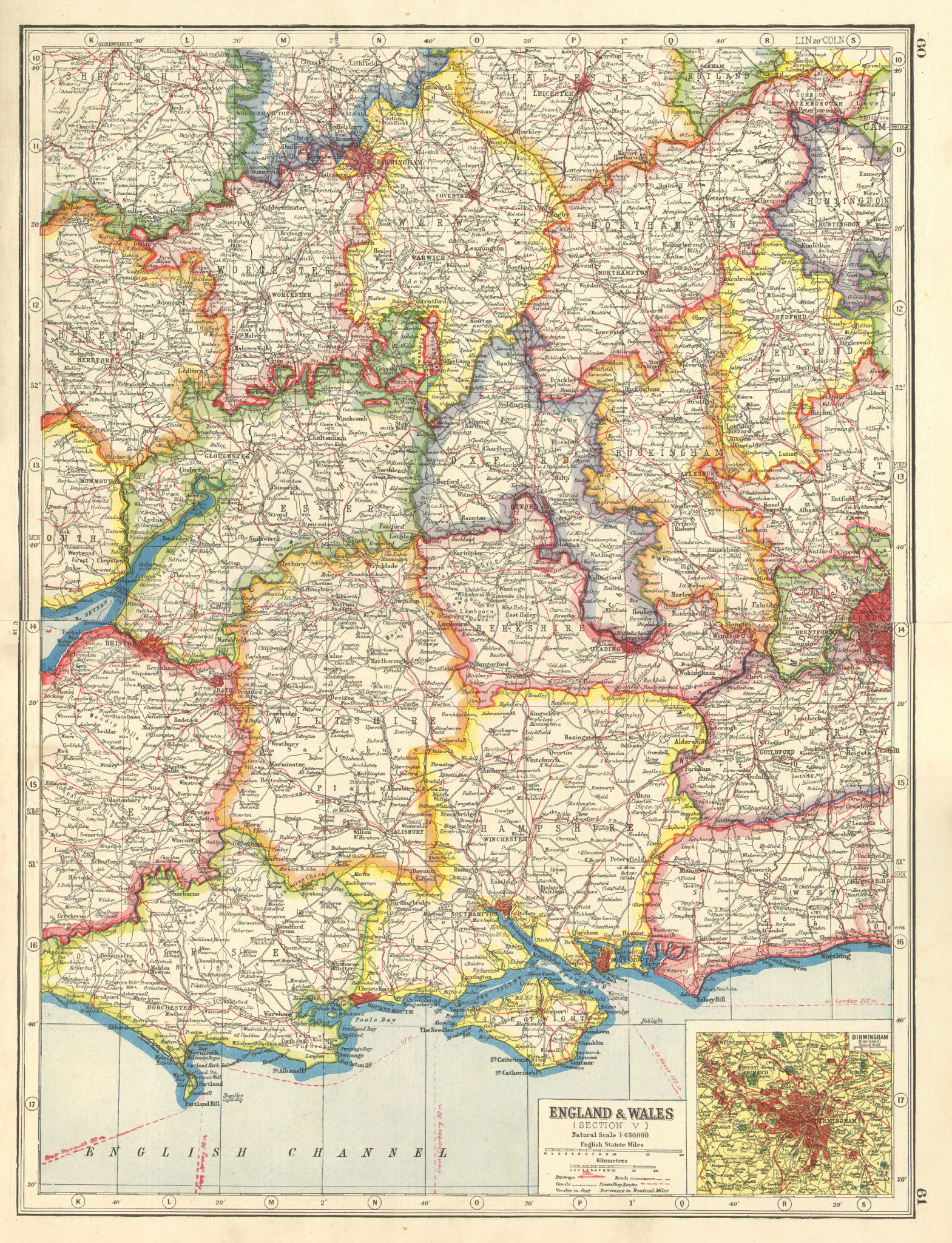 Associate Product ENGLAND SOUTH & MIDLANDS. Inset Birmingham. HARMSWORTH 1920 old antique map