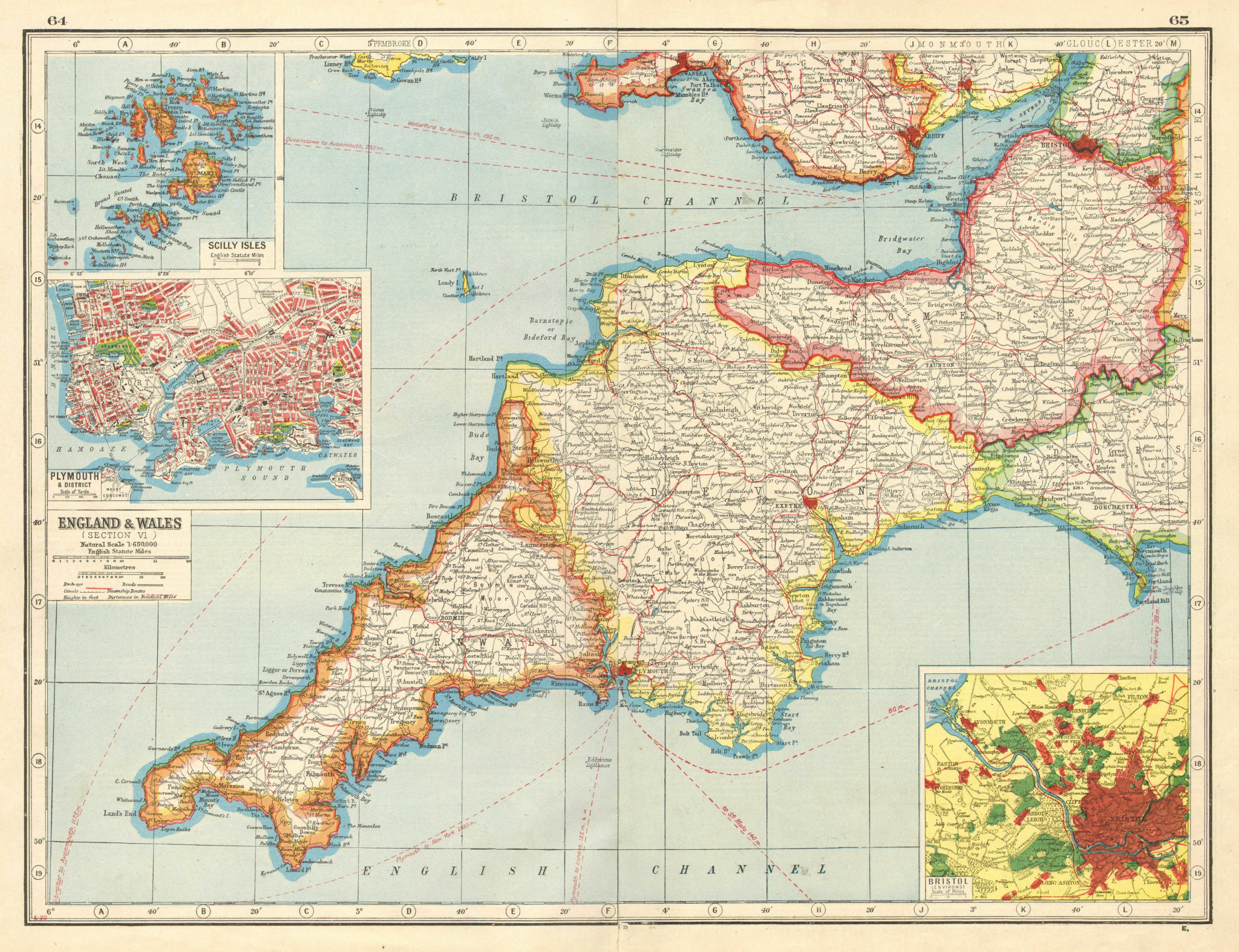 Associate Product SOUTH WEST ENGLAND. Devon Cornwall Somerset. Inset Plymouth & Bristol  1920 map
