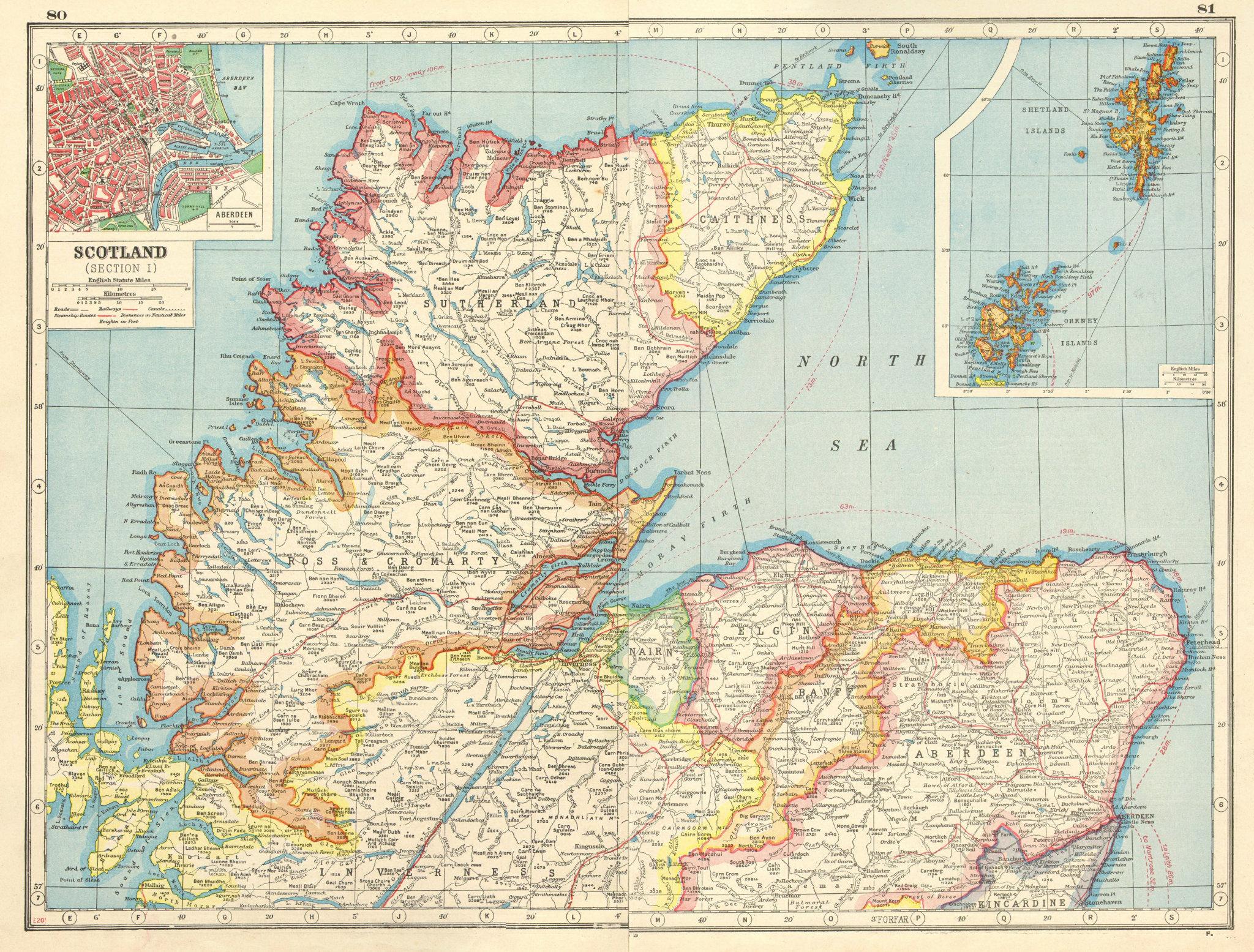 Associate Product SCOTLAND NORTH/HIGHLANDS. Sutherland Ross/Cromarty Caithness. Aberdeen 1920 map