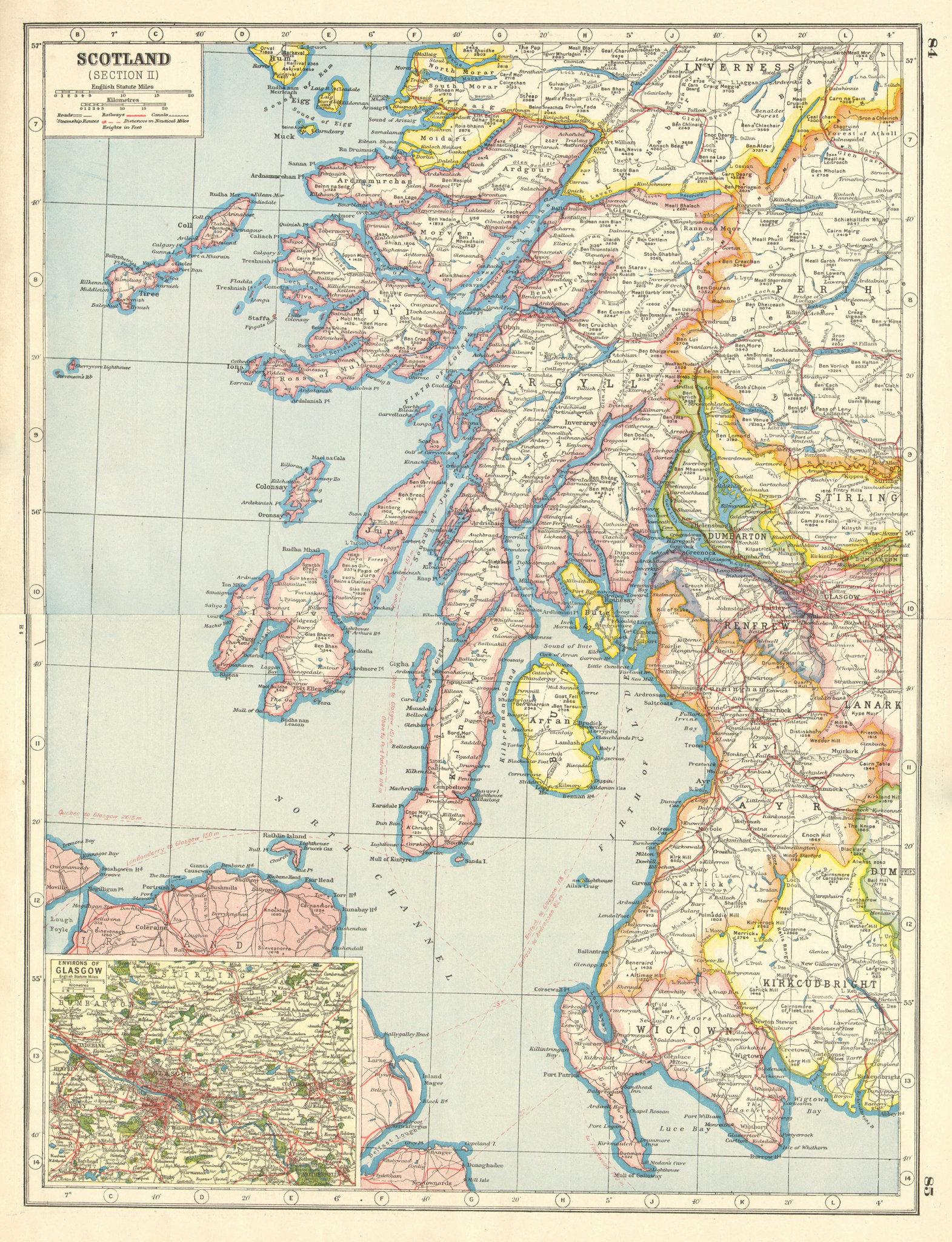 Associate Product SCOTLAND SOUTH WEST. Inner Hebrides. Argyll Ayr Arran Wigtown. Glasgow 1920 map