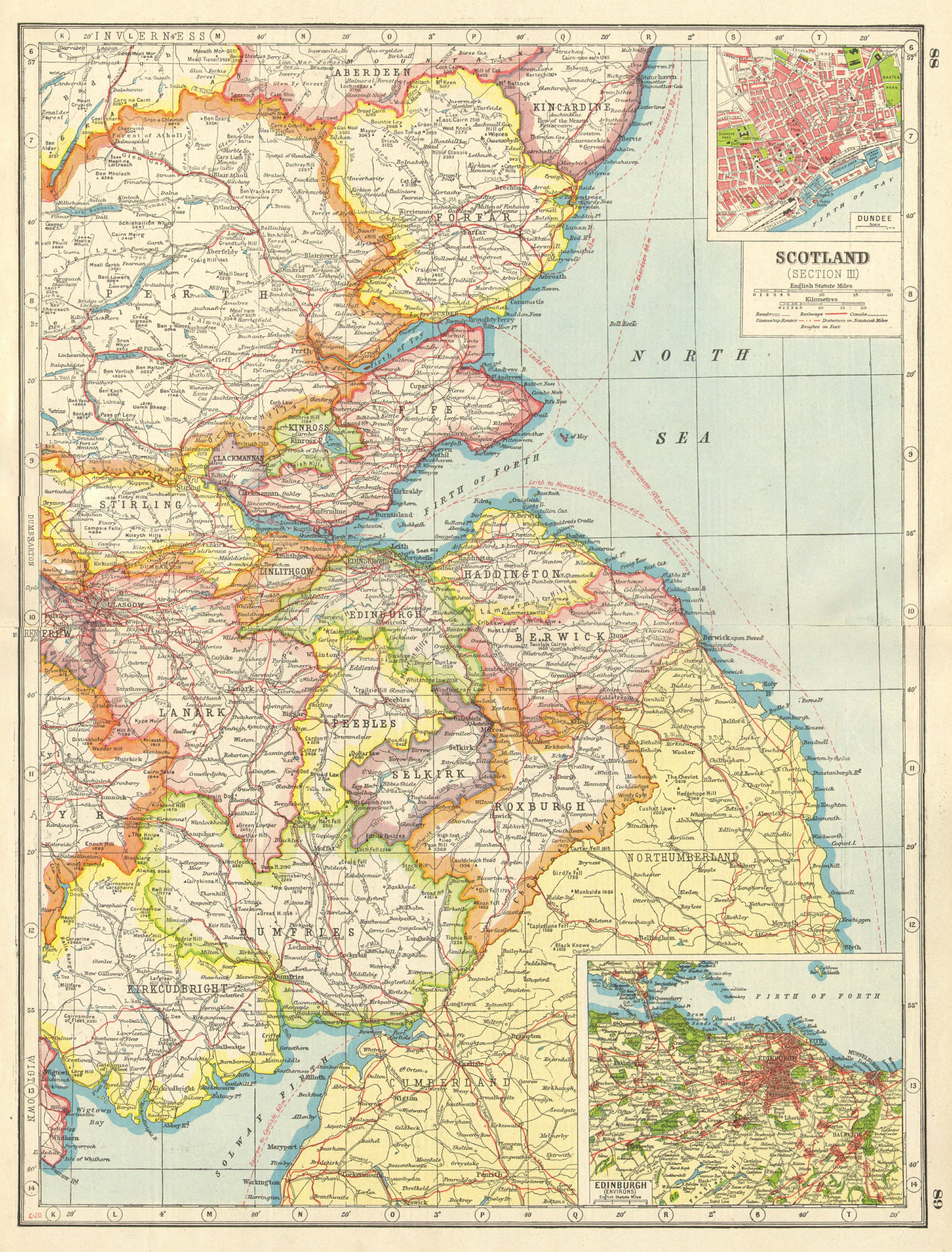 Associate Product SCOTLAND SOUTH EAST.Borders Lothian Fife Tayside.Dundee Edinburgh plan 1920 map