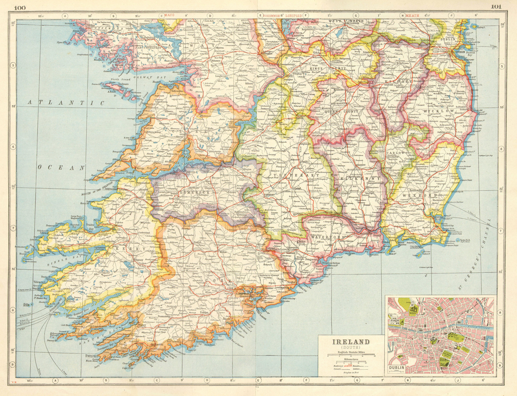Associate Product IRELAND SOUTH. Munster Leinster. Dublin plan. HARMSWORTH 1920 old antique map