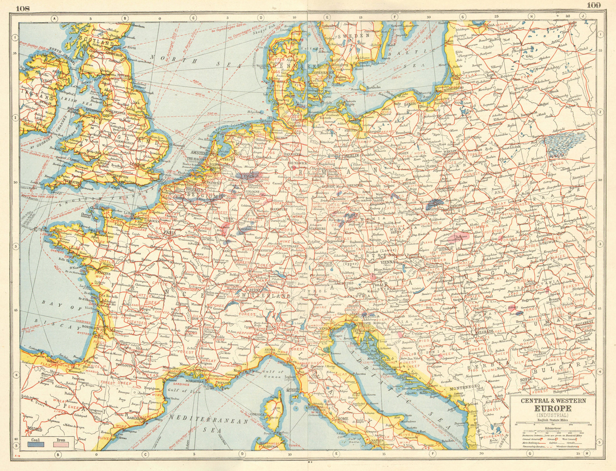 Associate Product EUROPE. INDUSTRIES. Coal & Iron deposits. British consuls. Railways 1920 map