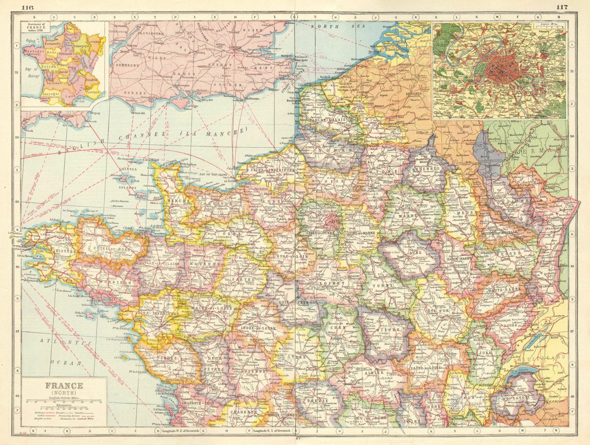 Associate Product NORTHERN FRANCE. Departements. Inset Provinces pre-1789 & Paris plan 1920 map