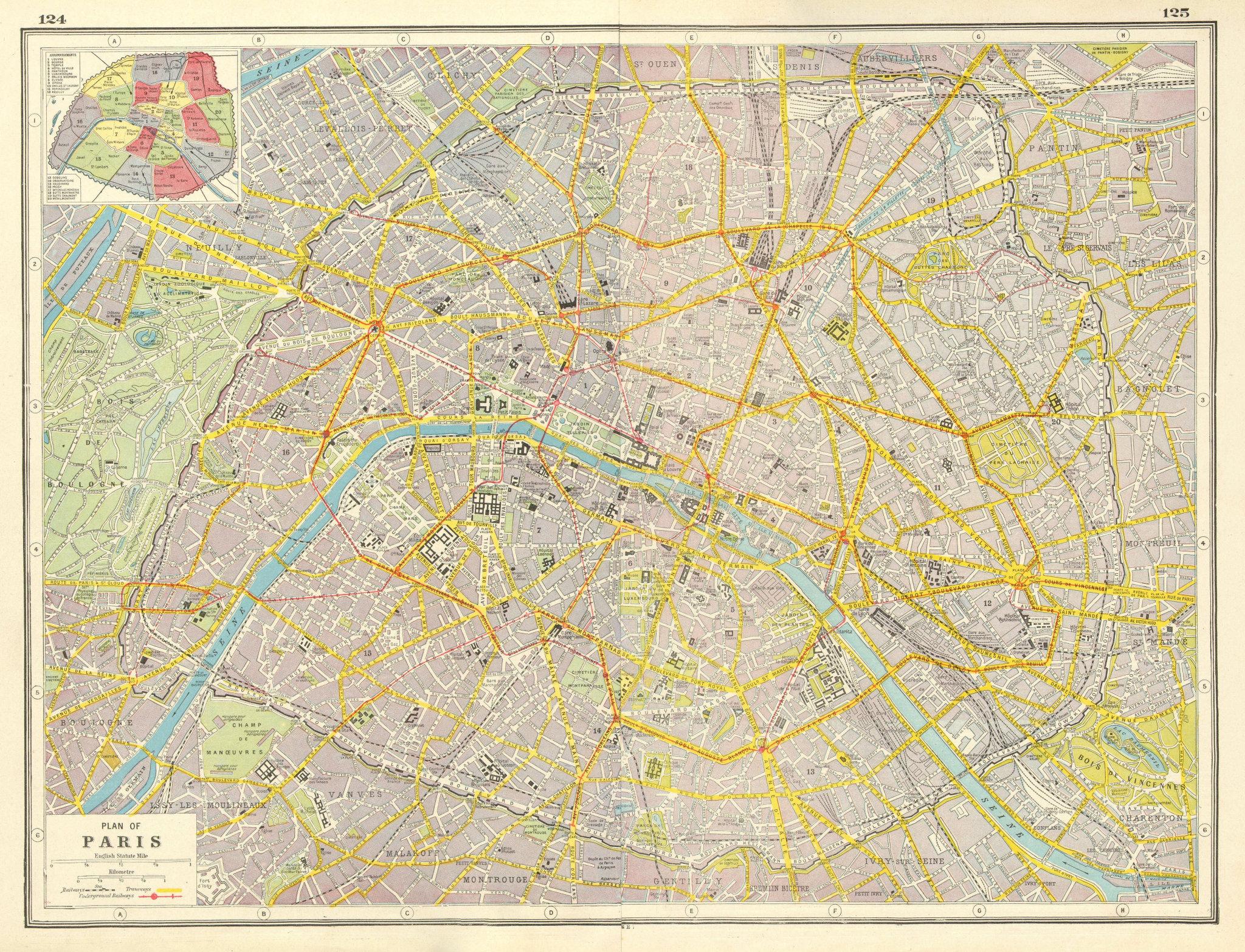 Associate Product PARIS CITY PLAN. tramways railways fortifications Arrondissements 1920 old map
