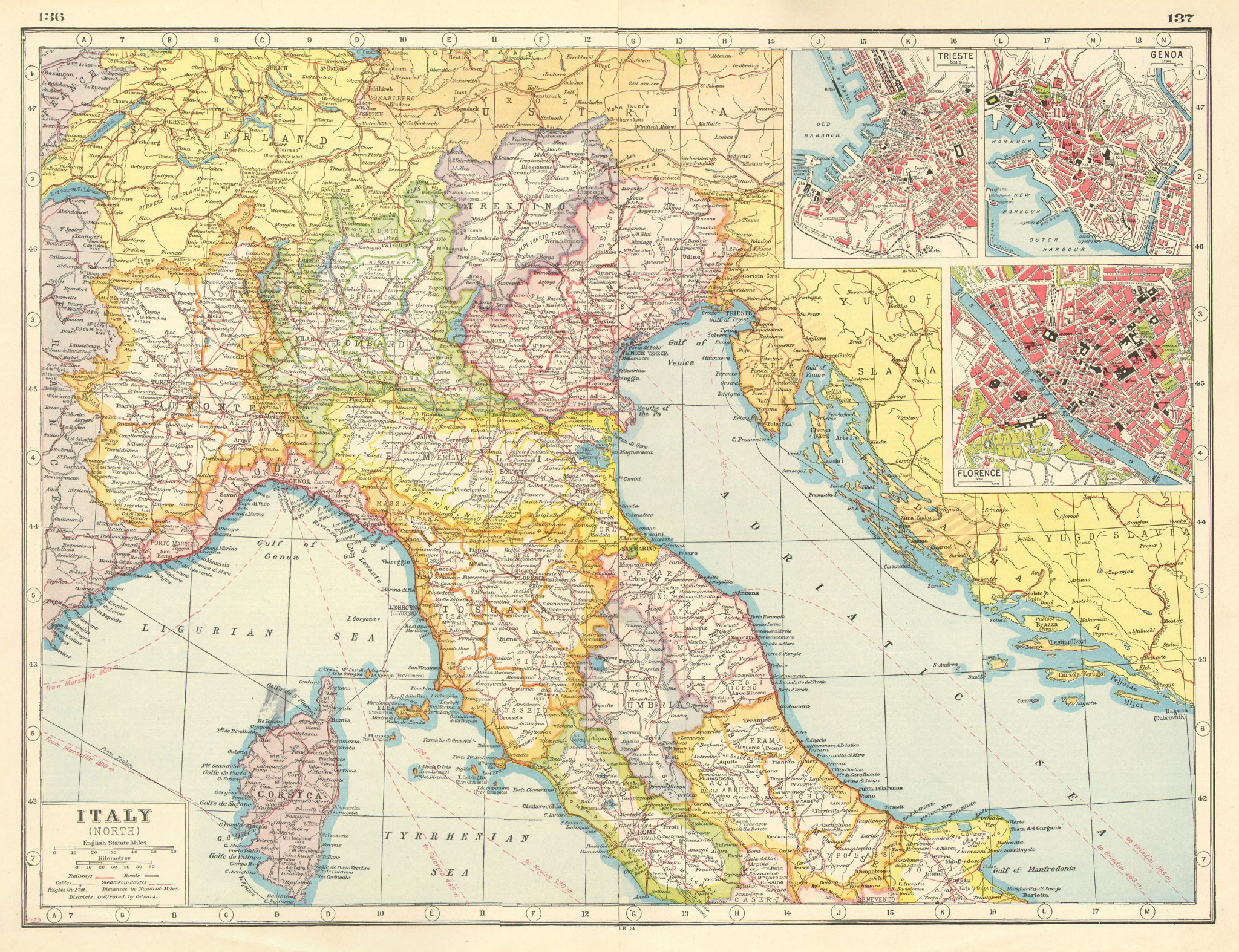 Associate Product ITALY NORTH. Provinces railways roads. Trieste Genoa Florence plans 1920 map