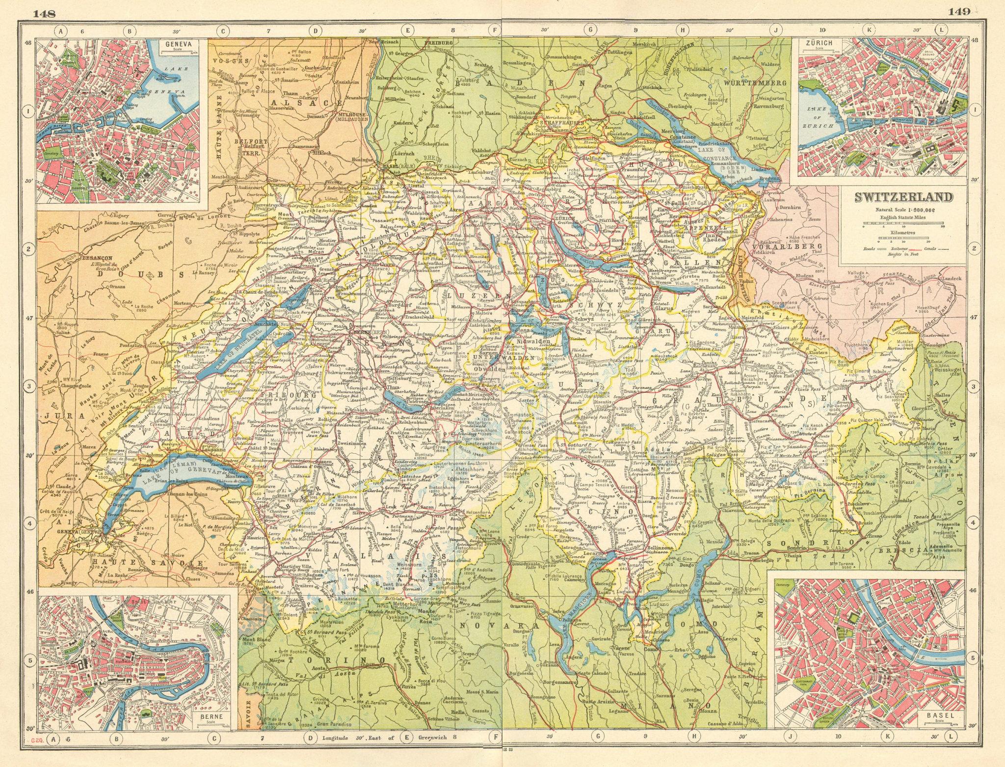 Associate Product SWITZERLAND. Geneva Genf Berne Bern Zurich Zürich Basel Basle plans 1920 map