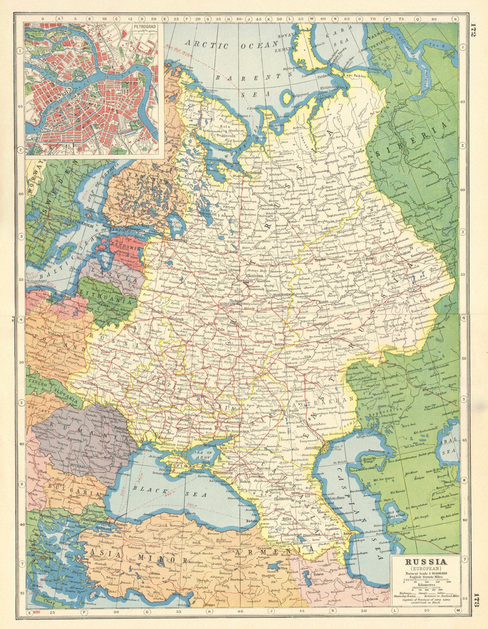 Associate Product EUROPEAN RUSSIA. Petrograd (St Petersburg) plan. Little Russia/Ukraine 1920 map