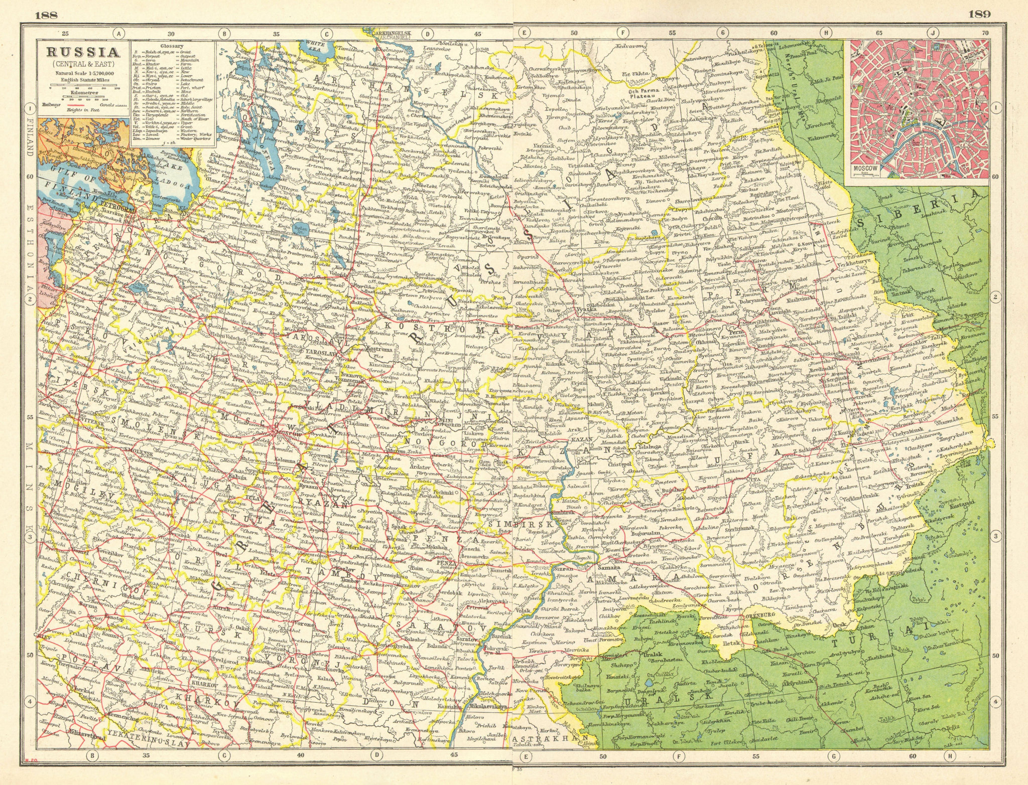 Associate Product EUROPEAN RUSSIA. Shows Petrograd (St Petersburg). Moscow plan.Railways 1920 map