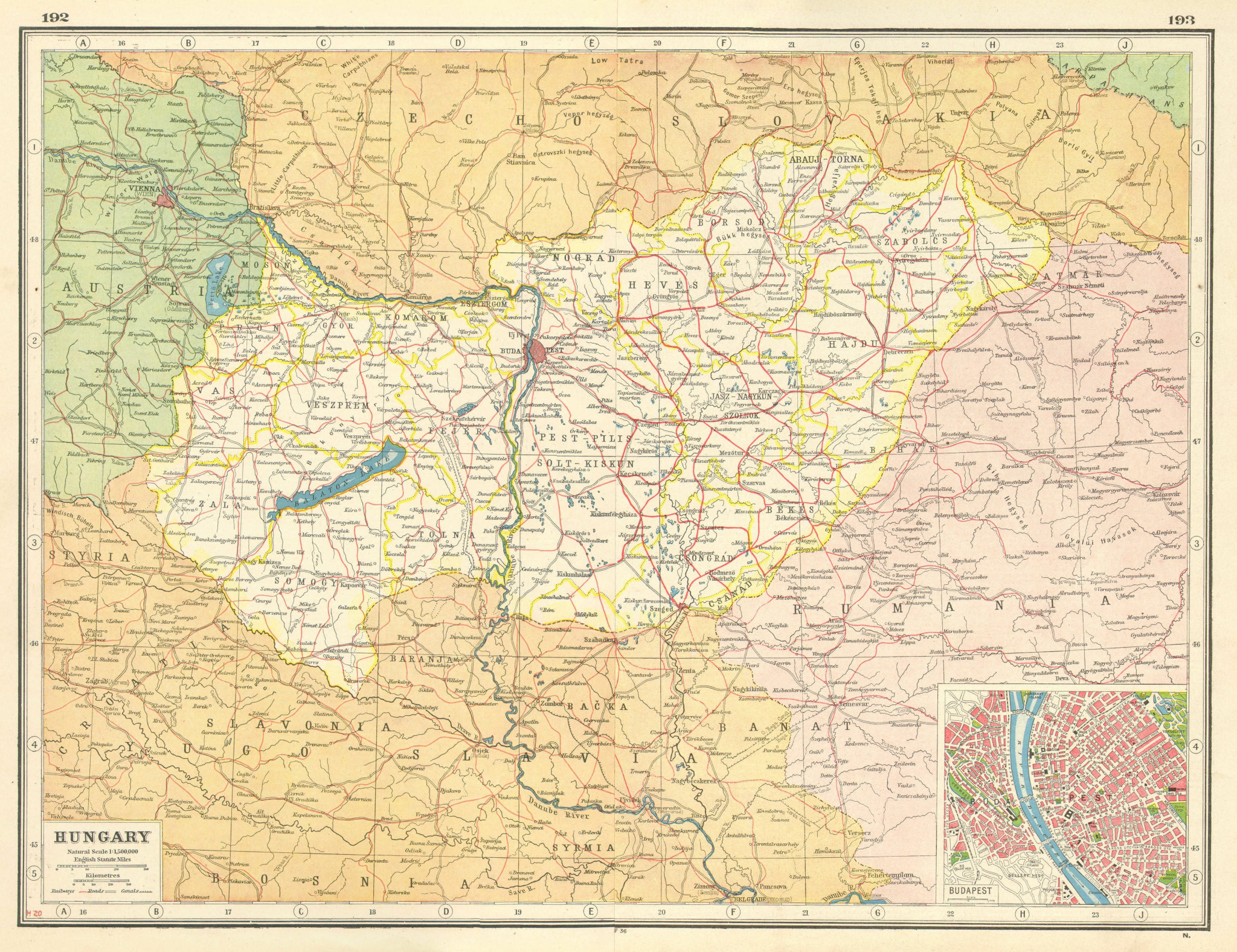 Associate Product HUNGARY. Danube. Budapest plan. Railways Sarvis Sio Malom canals 1920 old map