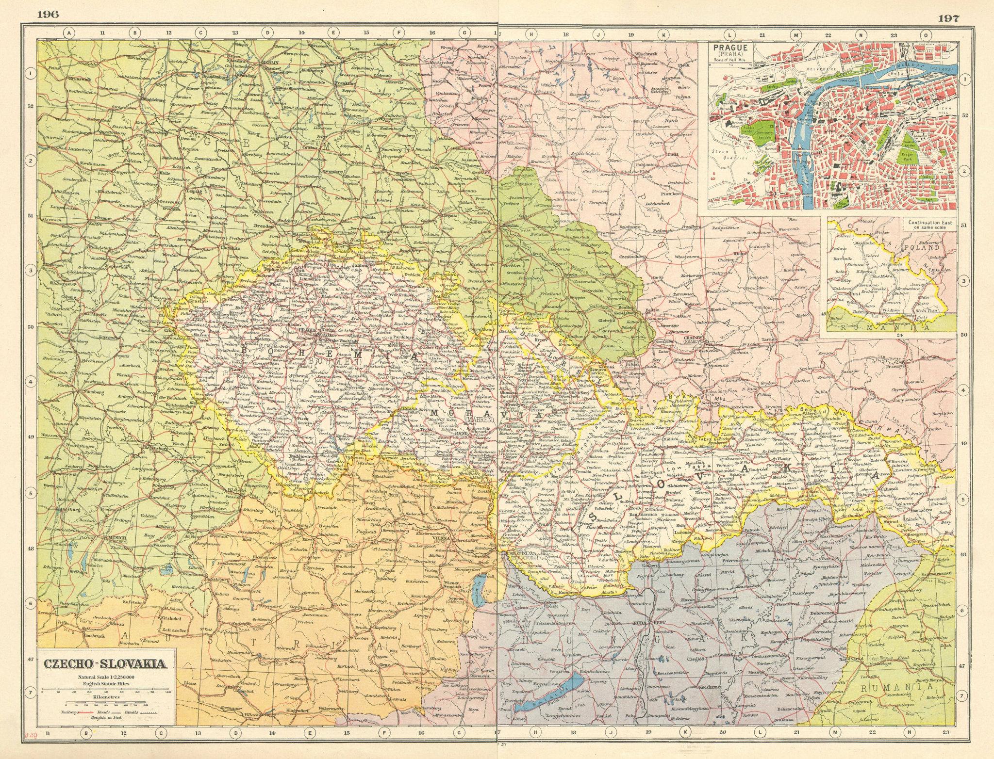 Associate Product CZECHOSLOVAKIA. w/ Carpathian Ruthenia. Prague/Praha. Bohemia Moravia 1920 map